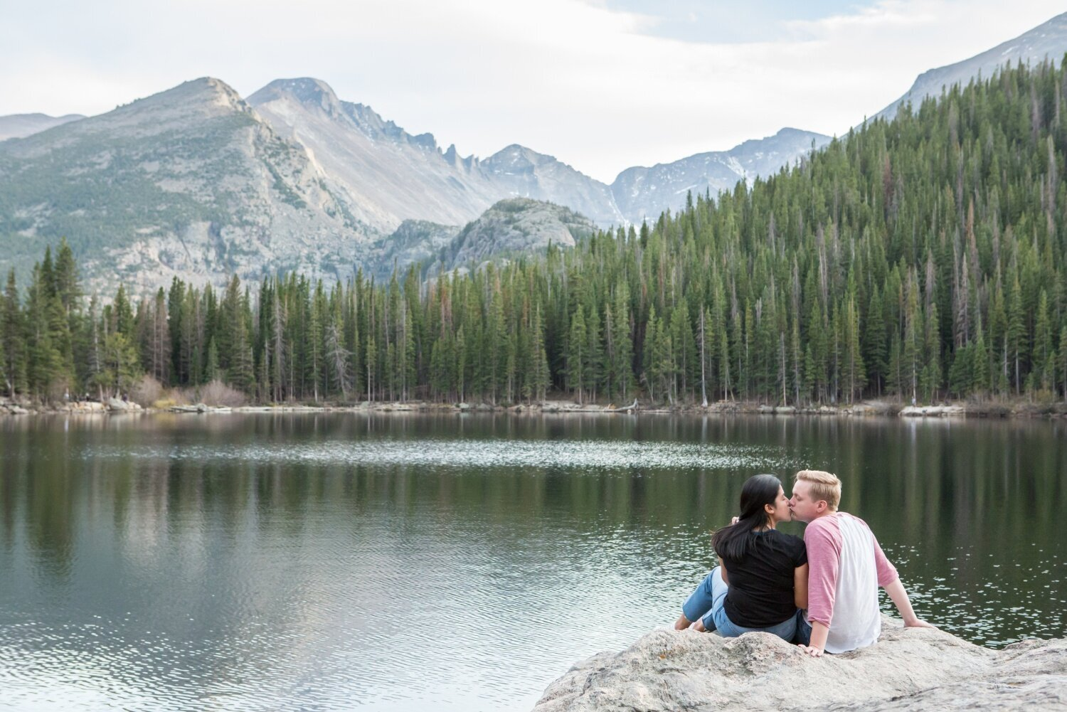 Engagement photos at Bear Lake in Rocky Mountain National Park