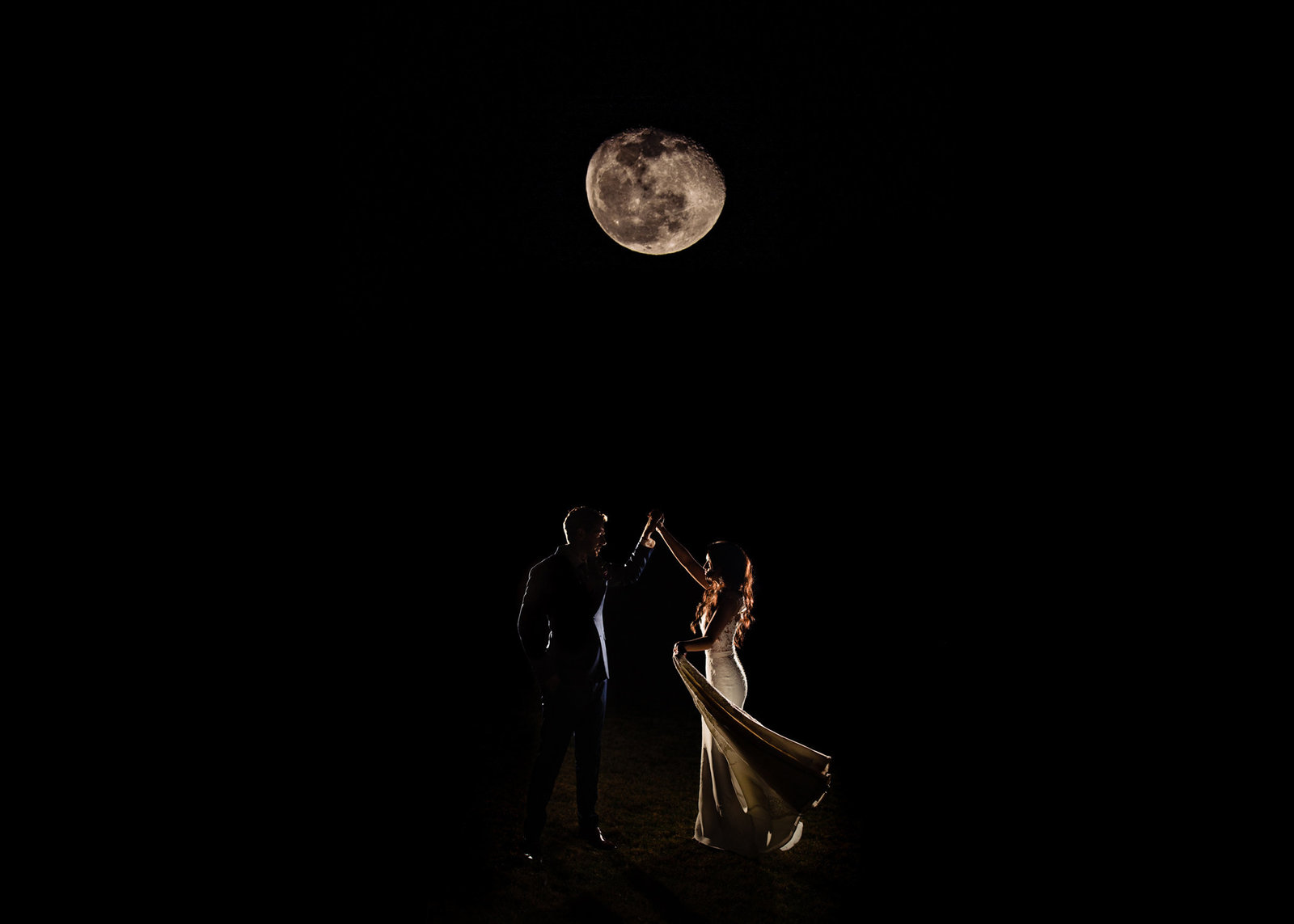 Bride and Groom Portrait under the moon at Camp Lucy in Dripping Springs