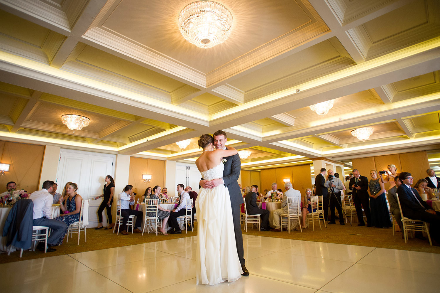 The first dance at a La Valencia wedding reception
