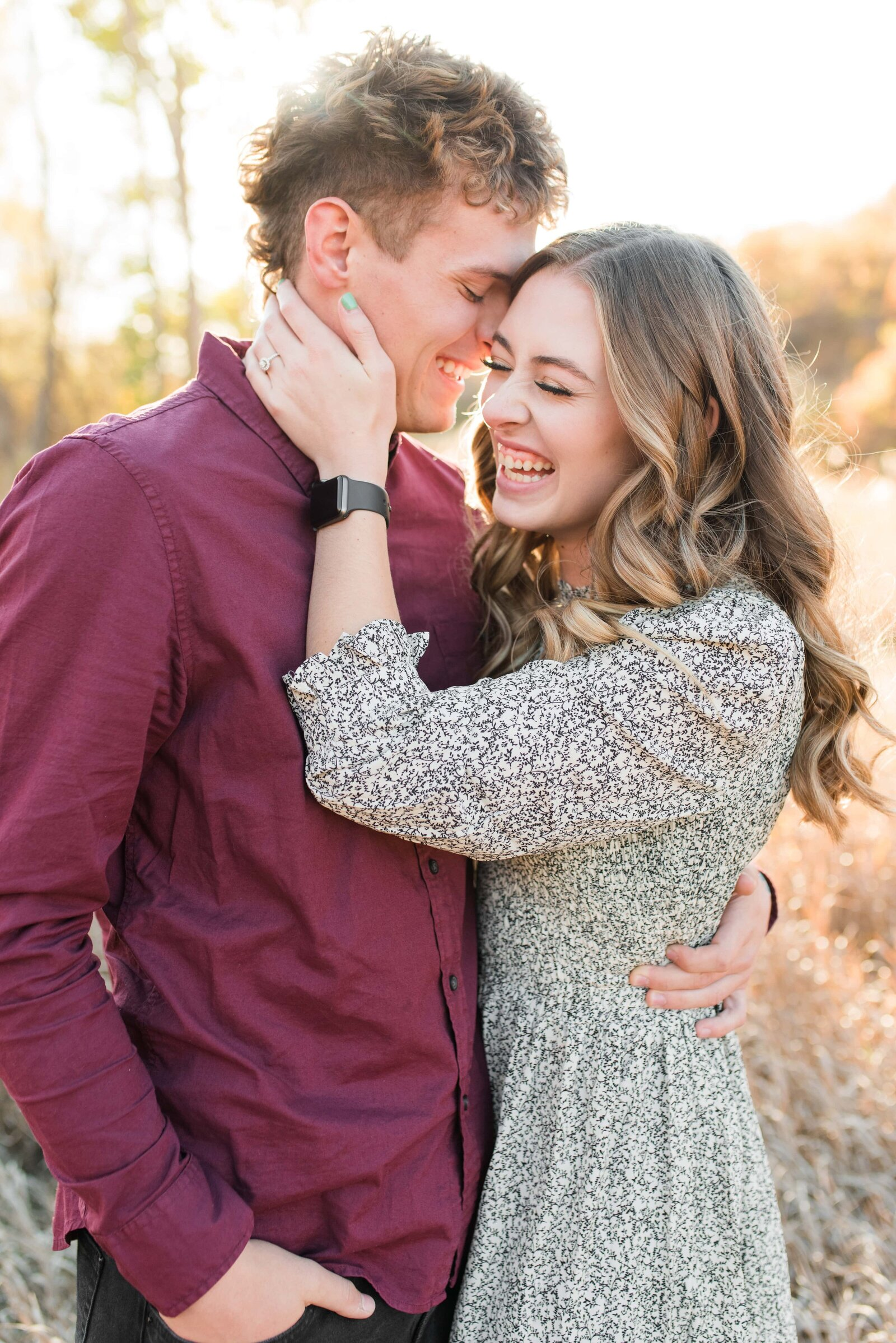 27 Utah Fall Engagement Session in a Golden Field_007