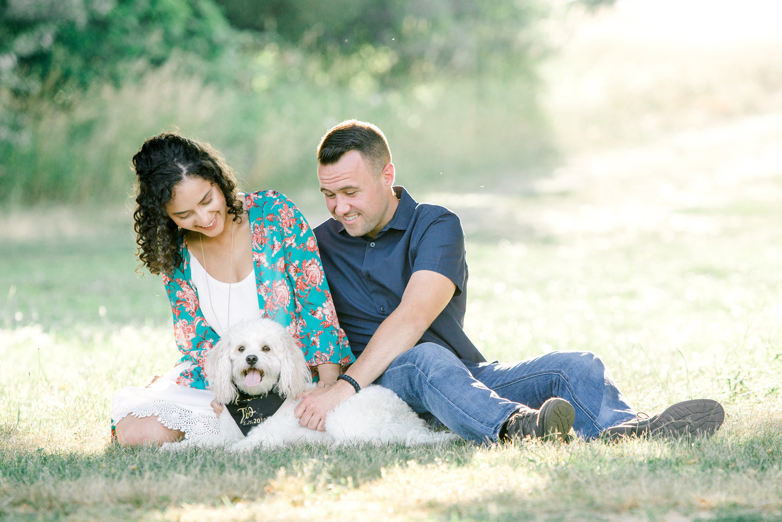 engagement photos with dogs in Lincoln, RI