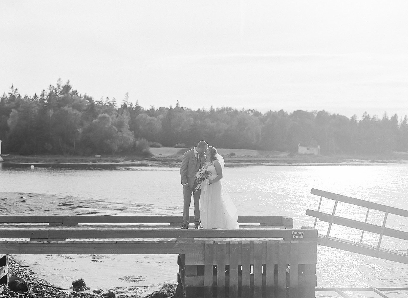 Shining Waters Marina Pier Wedding in late Summer, captured by Jacqueline Anne Photography in Black and White