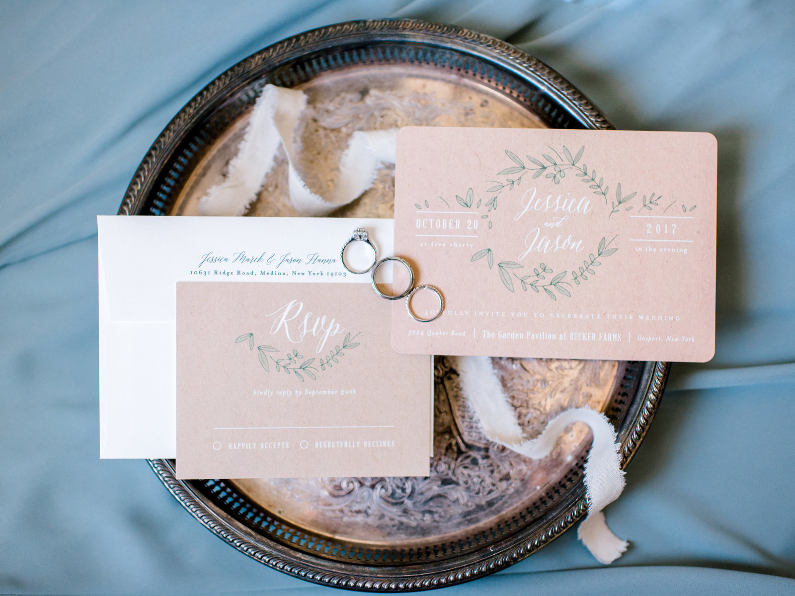 Styled Invitation Suite in Buffalo NY Wedding at Becker Farms