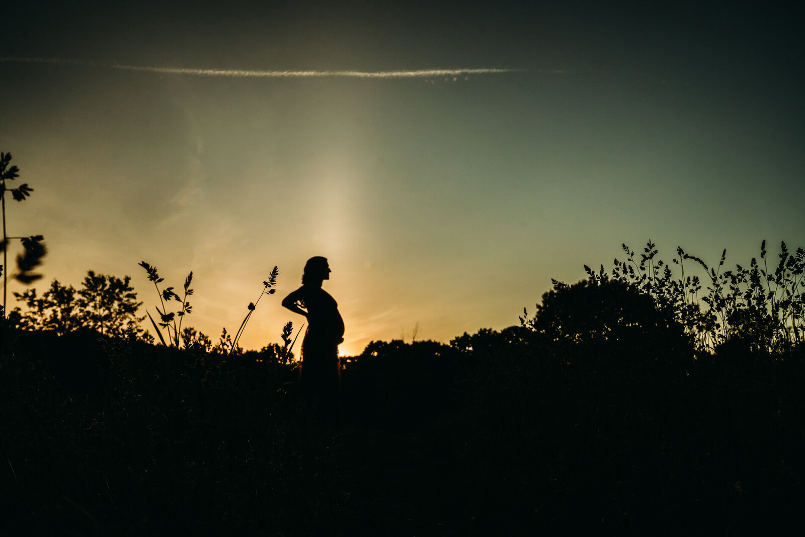 profile silhouette of pregnant woman at sunset