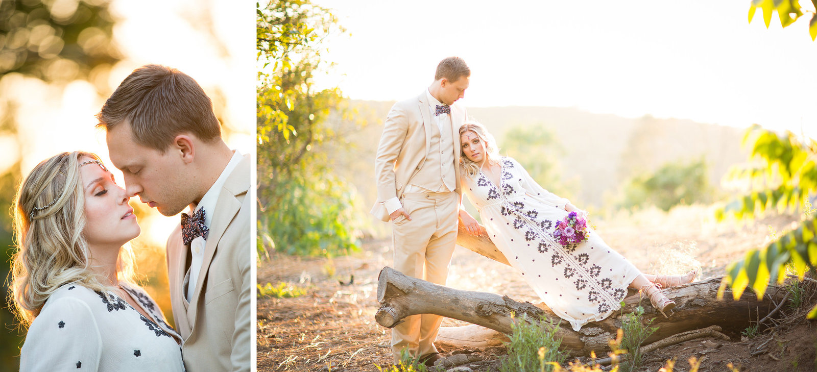 sunset lighting with bride and groom