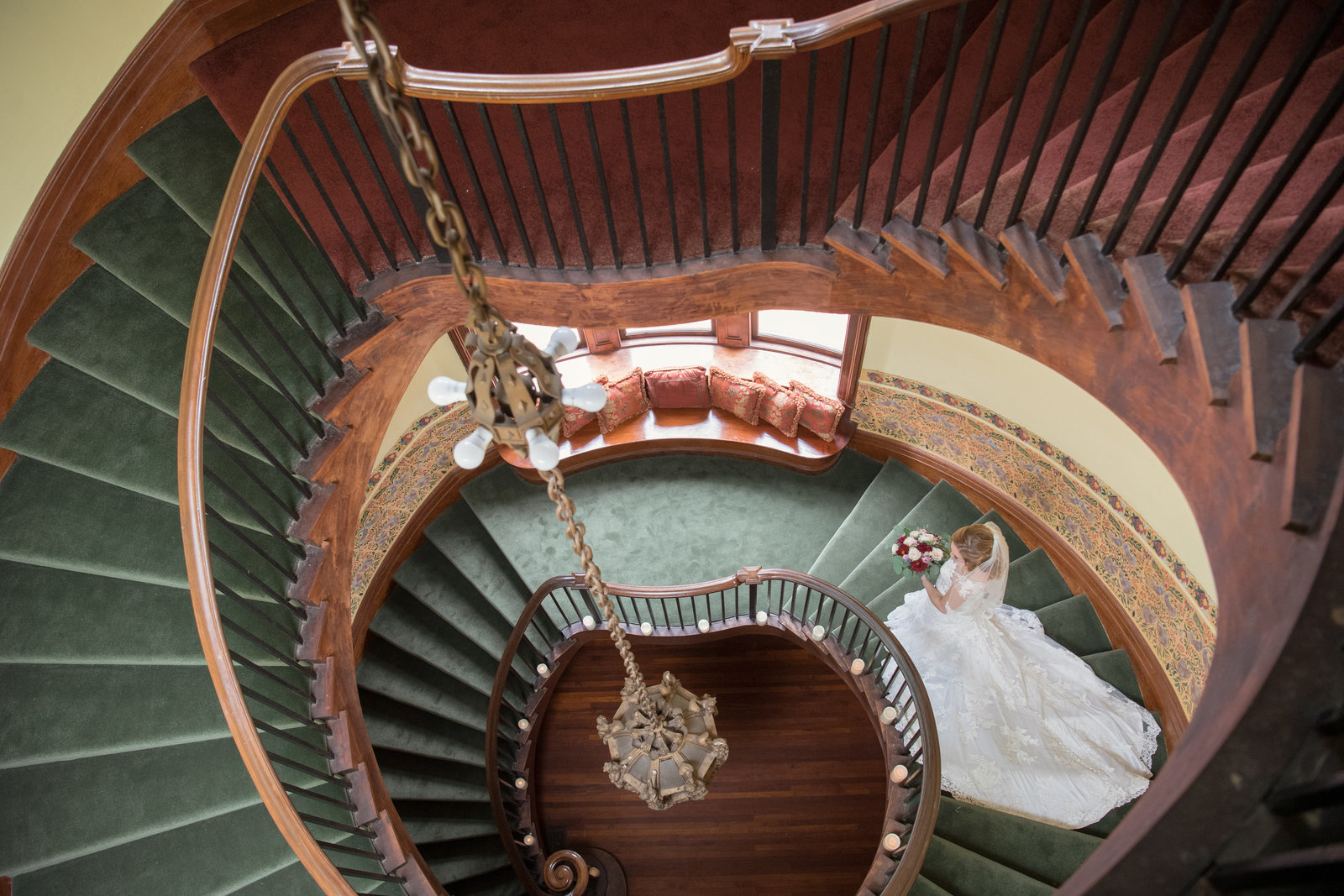 creative view of bride from upstairs at Coindre Hall