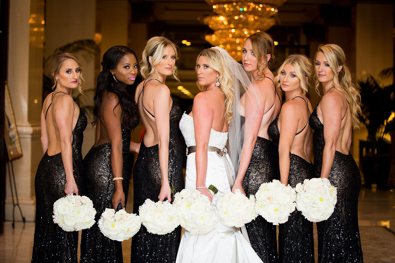 beautiful bridesmaids image in black dresses at us grant hotel