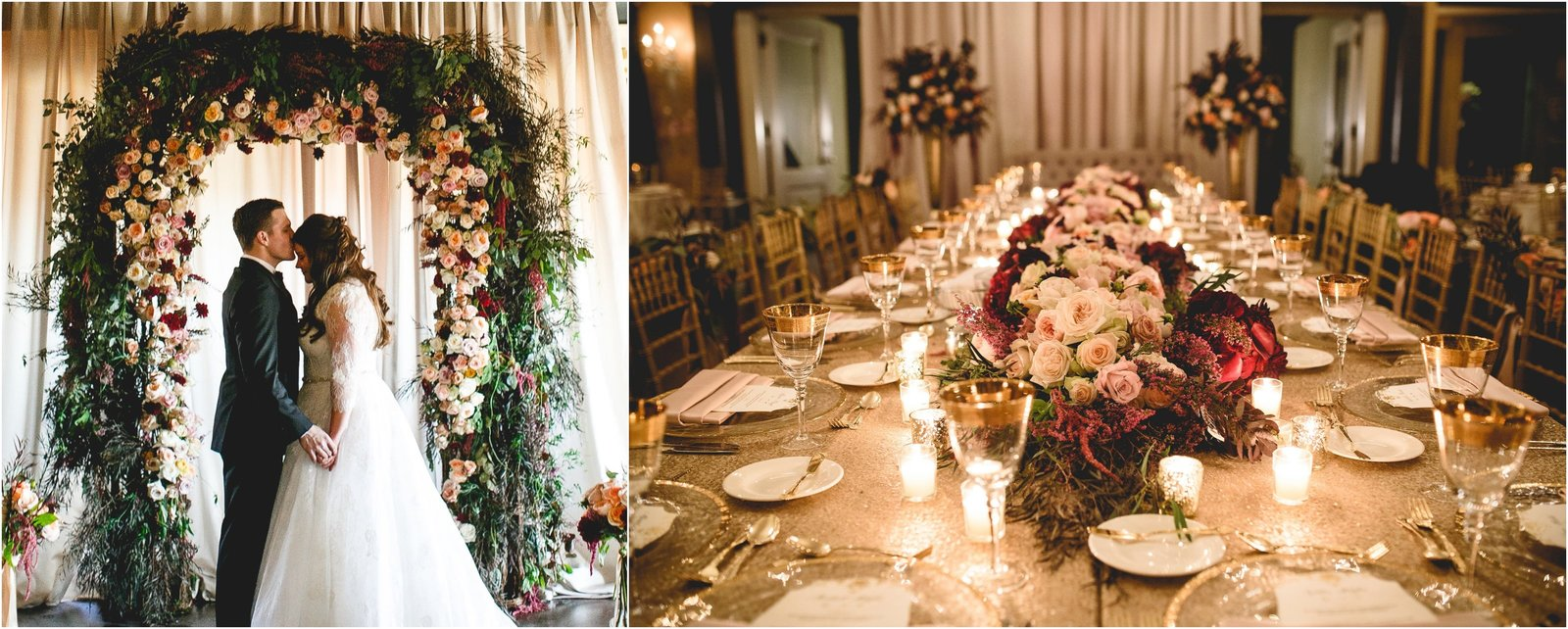 Fall Wedding at Semple Mansion with burgandy, gold and blush.
