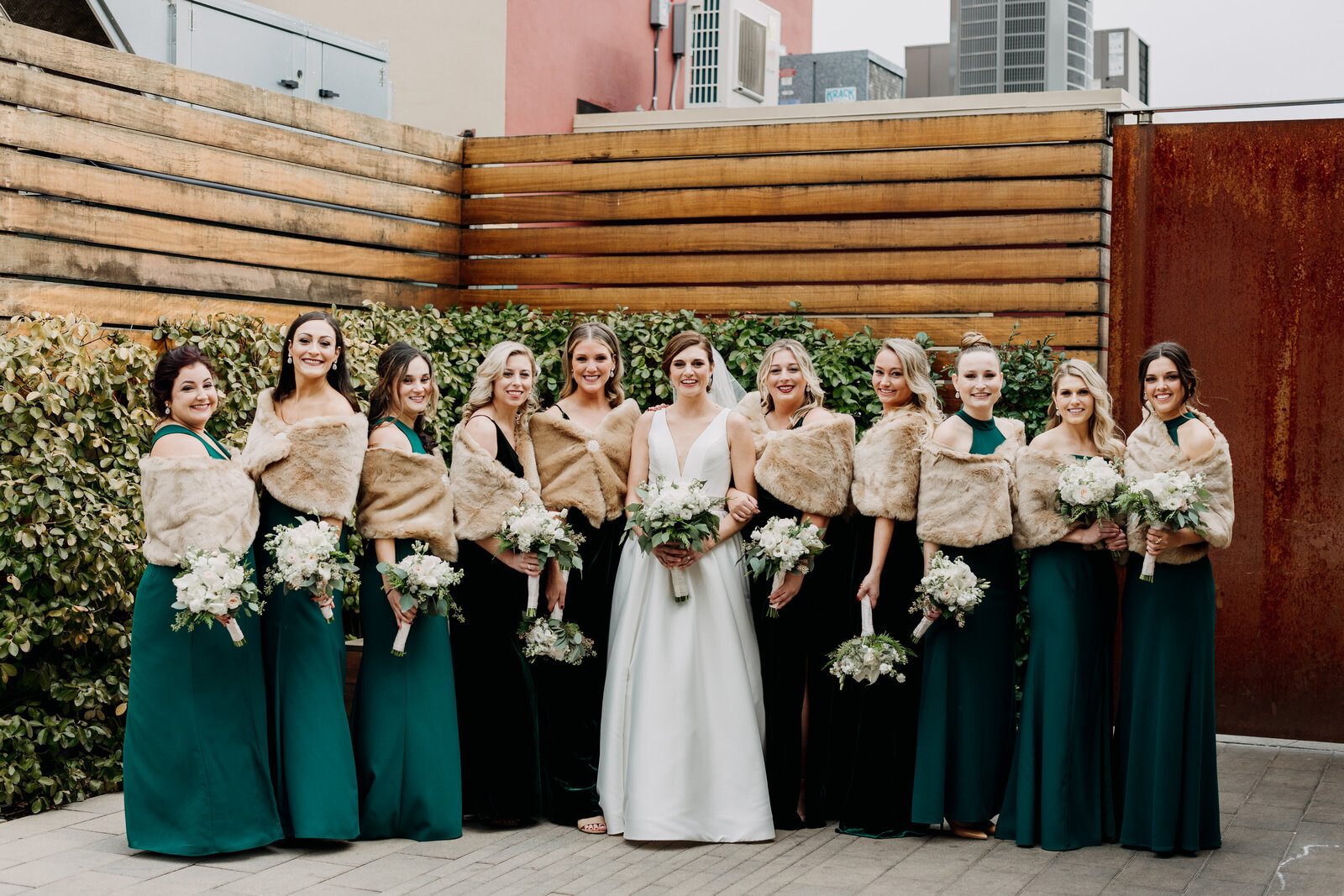 bridesmaids green winter dresses