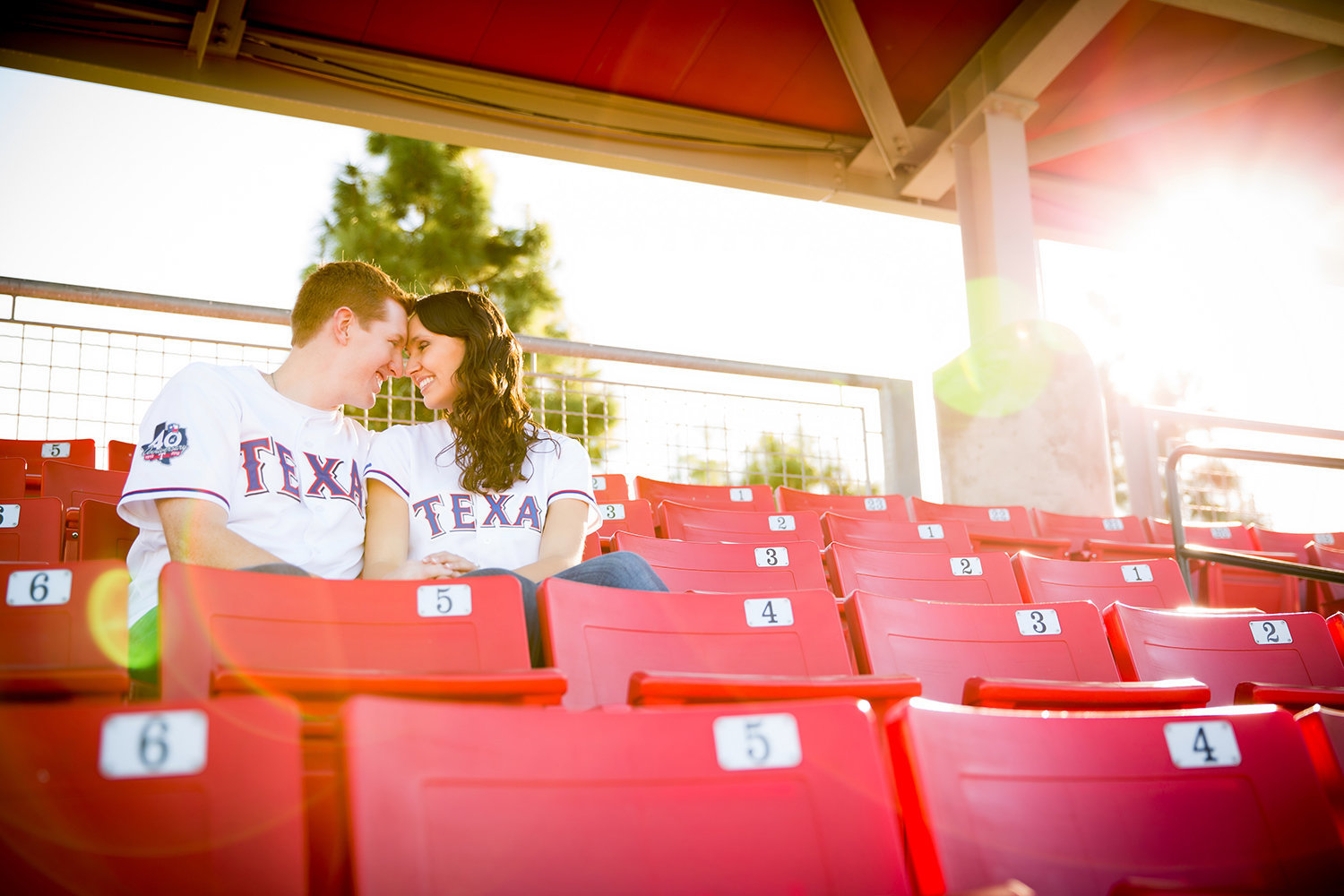 San Diego State engagement photos cute couple at stadium