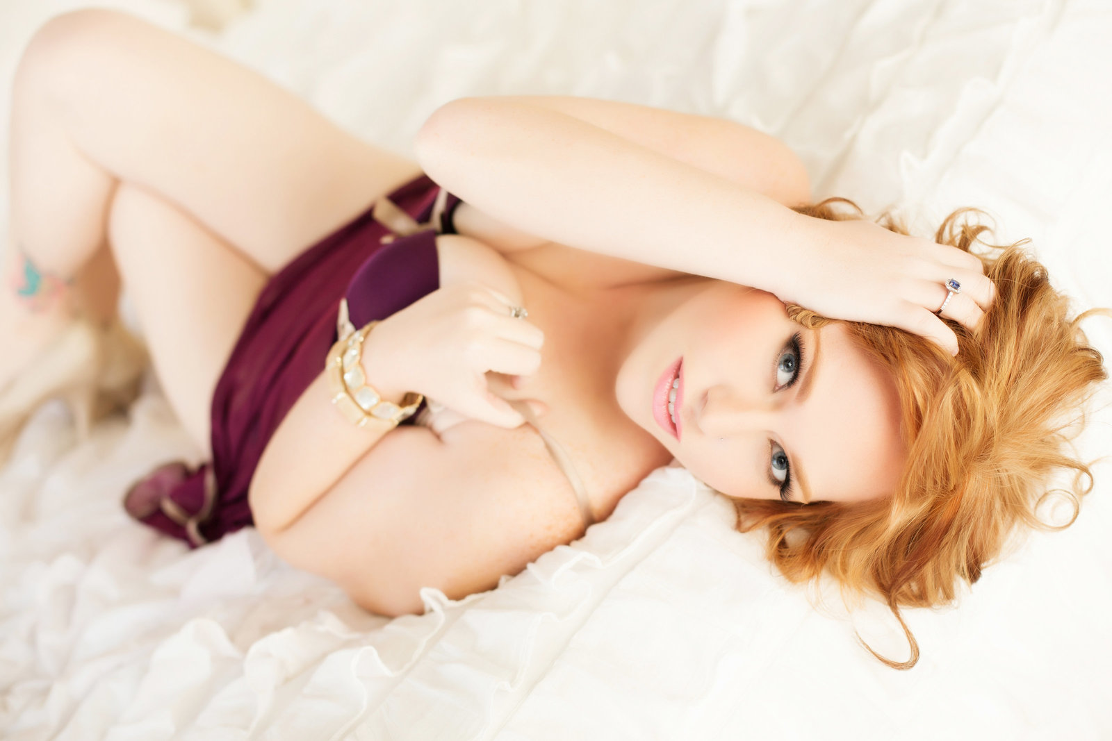 burgandy lingerie red hair boudoir, az photography