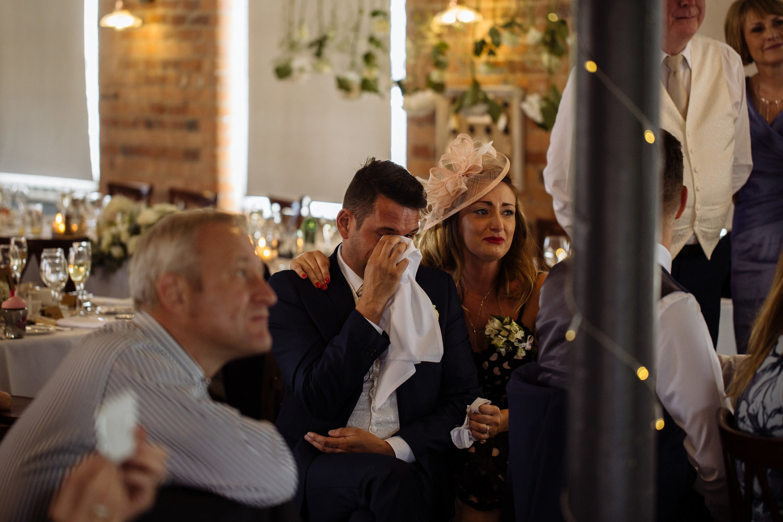 Best man crying at wedding. West Mill documentary wedding photographer