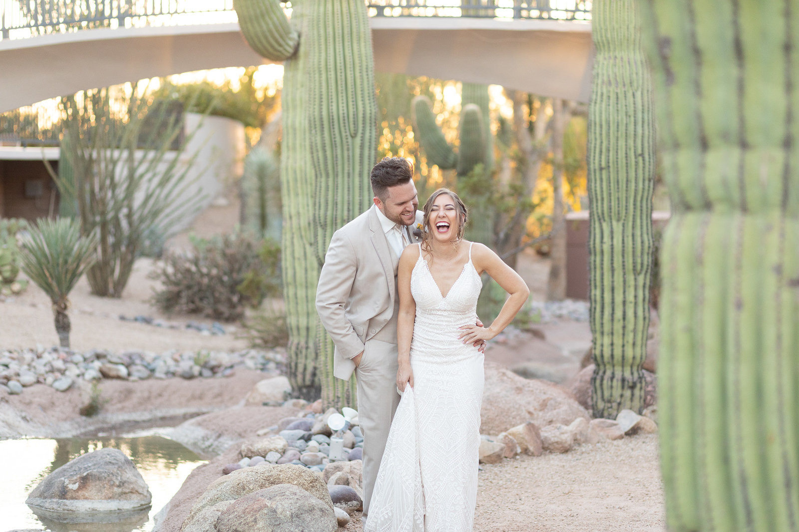 Jared and Sharaya Maples giggling by the cacti