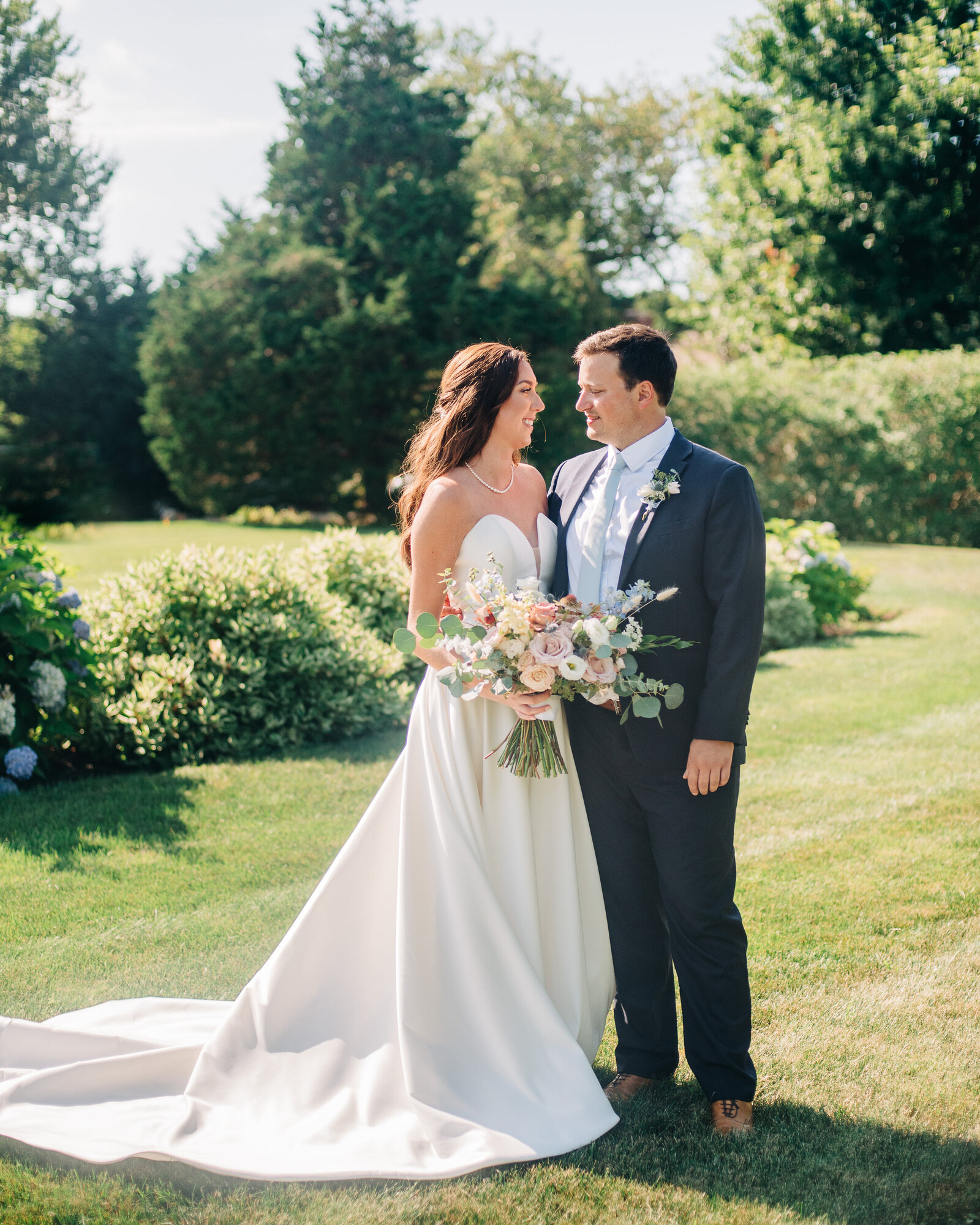 bride and groom portrait at a cape cod wedding at the dennis inn
