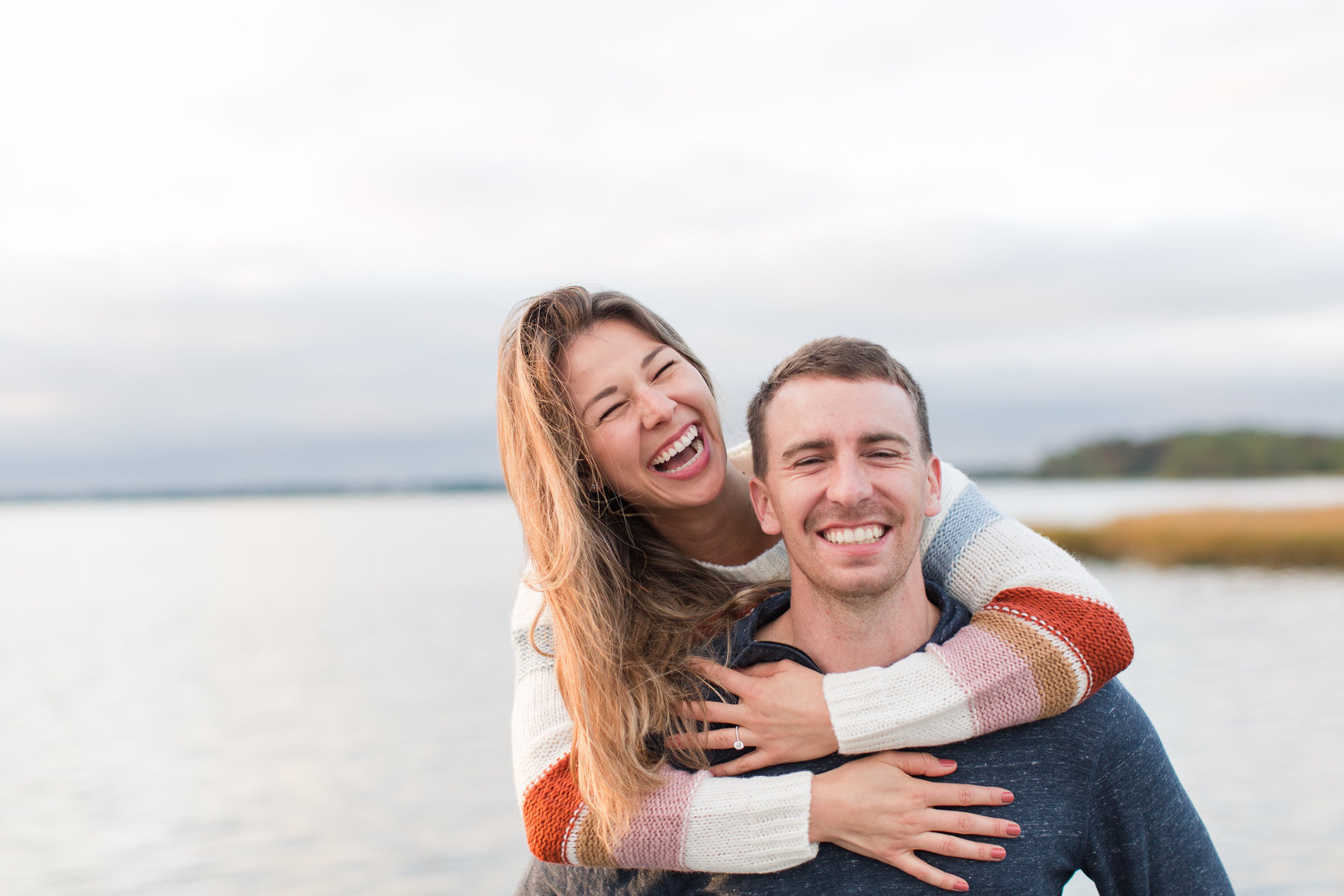 couple having fun during their engagement session