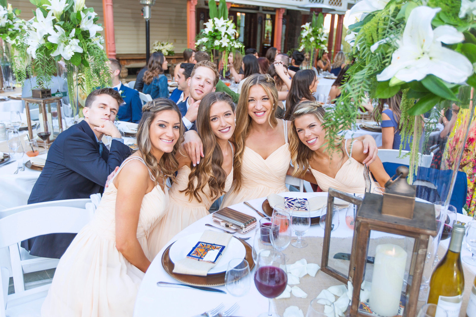 fun photo of bridesmaids during reception at the newhall mansion