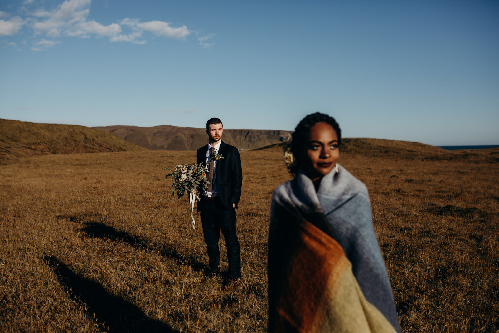 dramatic icleland elopement interracial couple