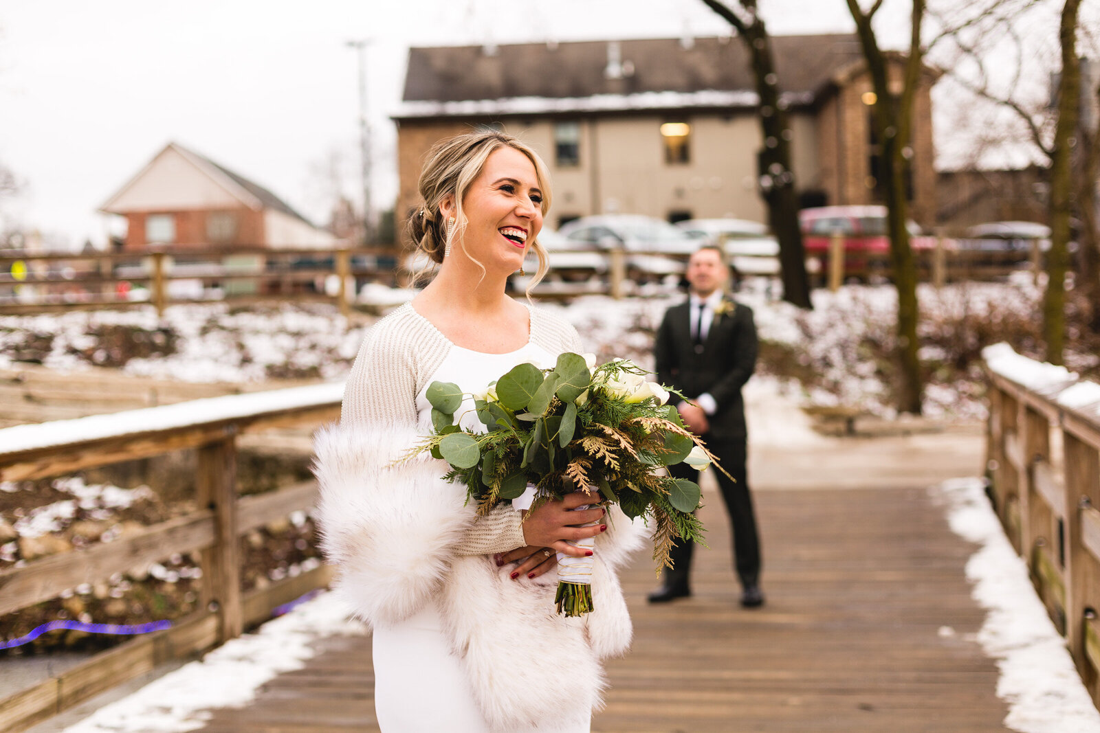 bride smiling before first look with groom gahanna ohio