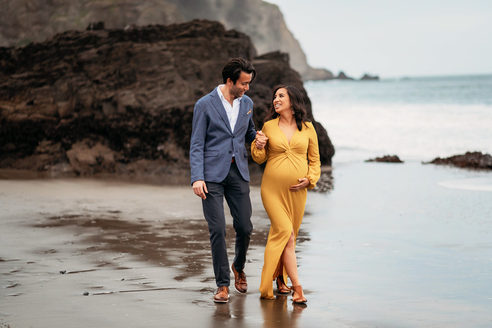 Maternity Photoshoot in China Beach San Francisco Yellow Maternity Dress
