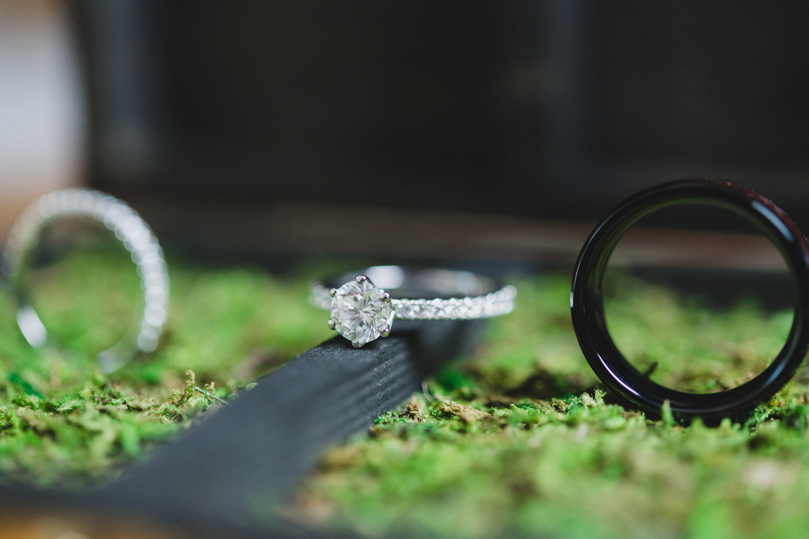 photo of wedding rings from wedding at Three Village Inn