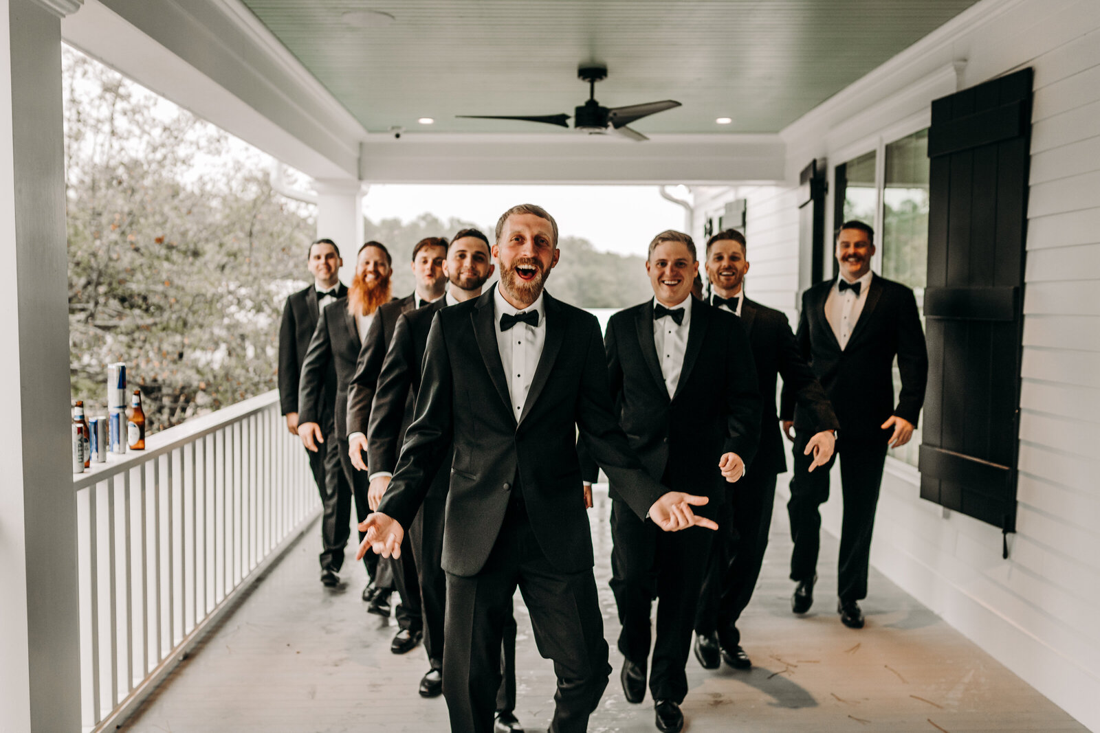 Groom with wedding party at White Oak Road wedding venue in Appling, Ga