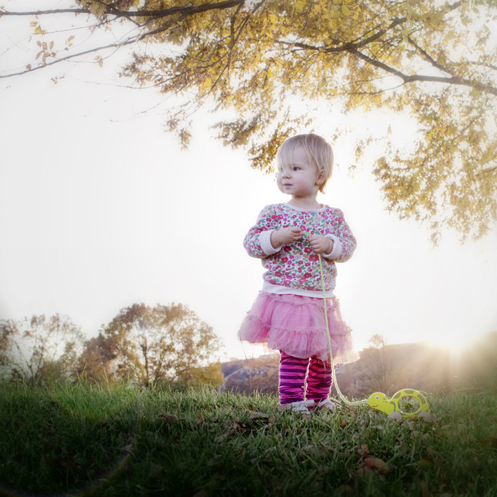Toddler with Prop during Family Portrait Session in Ben Brenman Park, Alexandria, VA