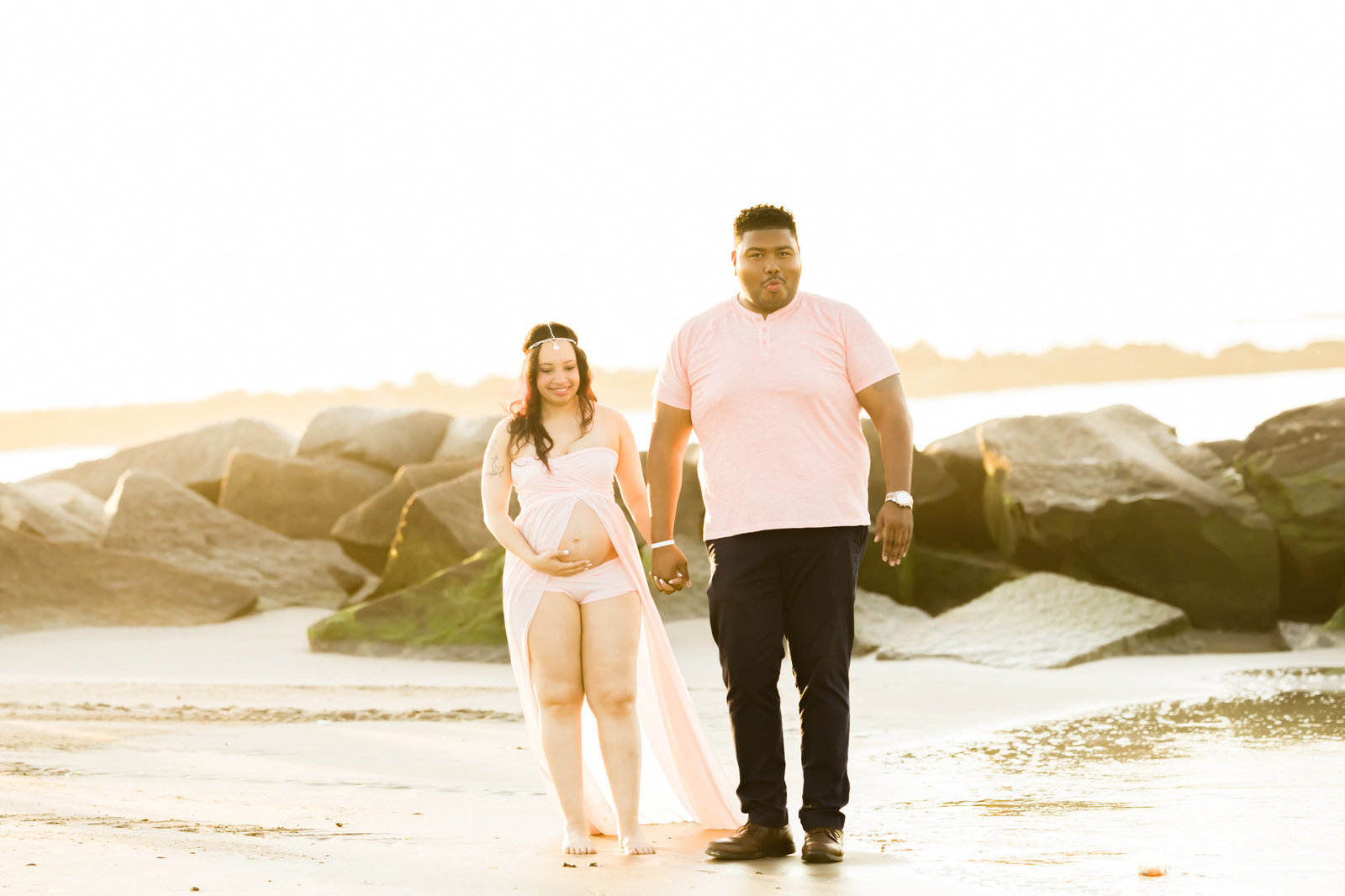 Dreamcatcher Rose Studios - Maternity - walking down the beach - candid