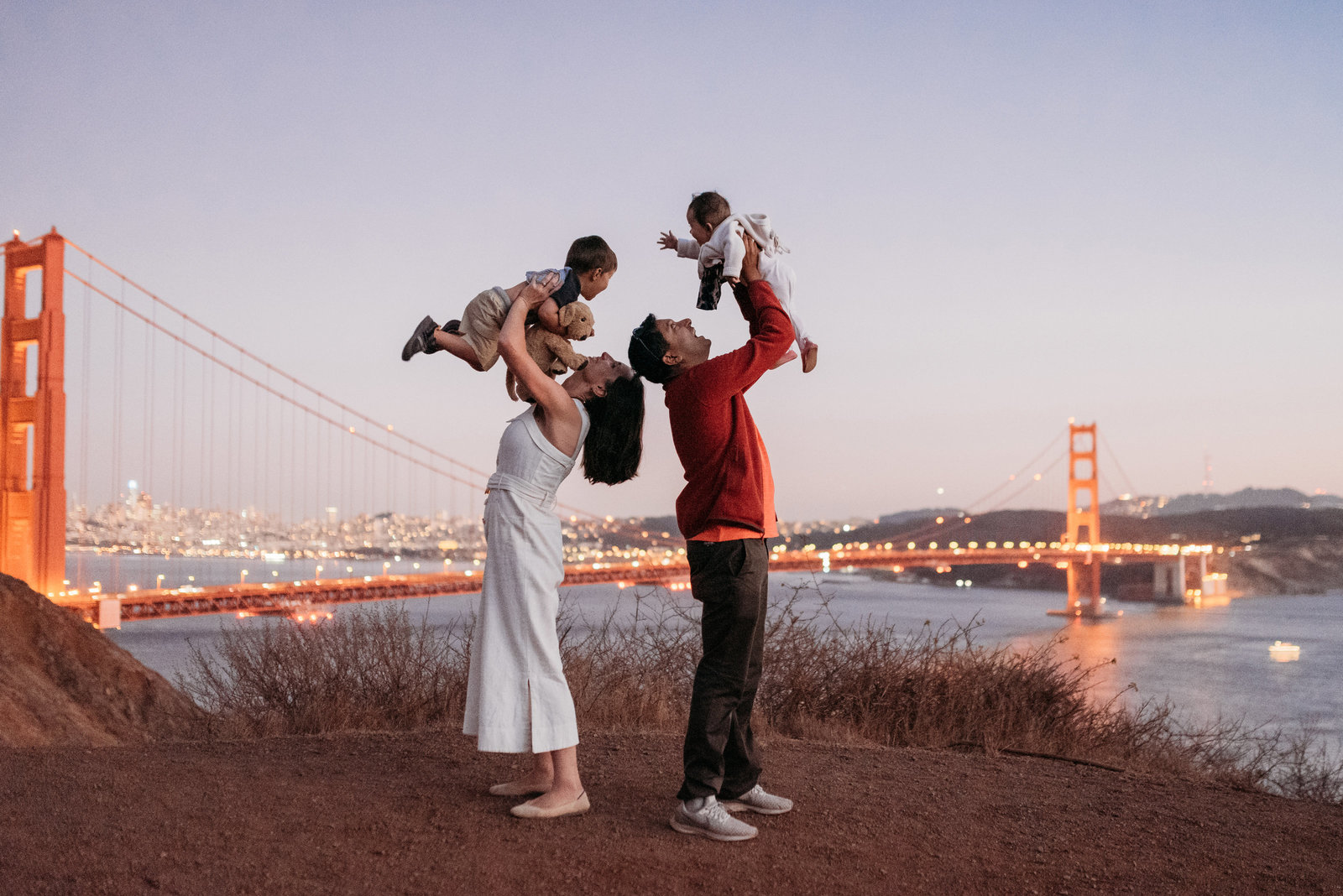 Family Photoshoot Marin Headlands Golden Gate Bridge View