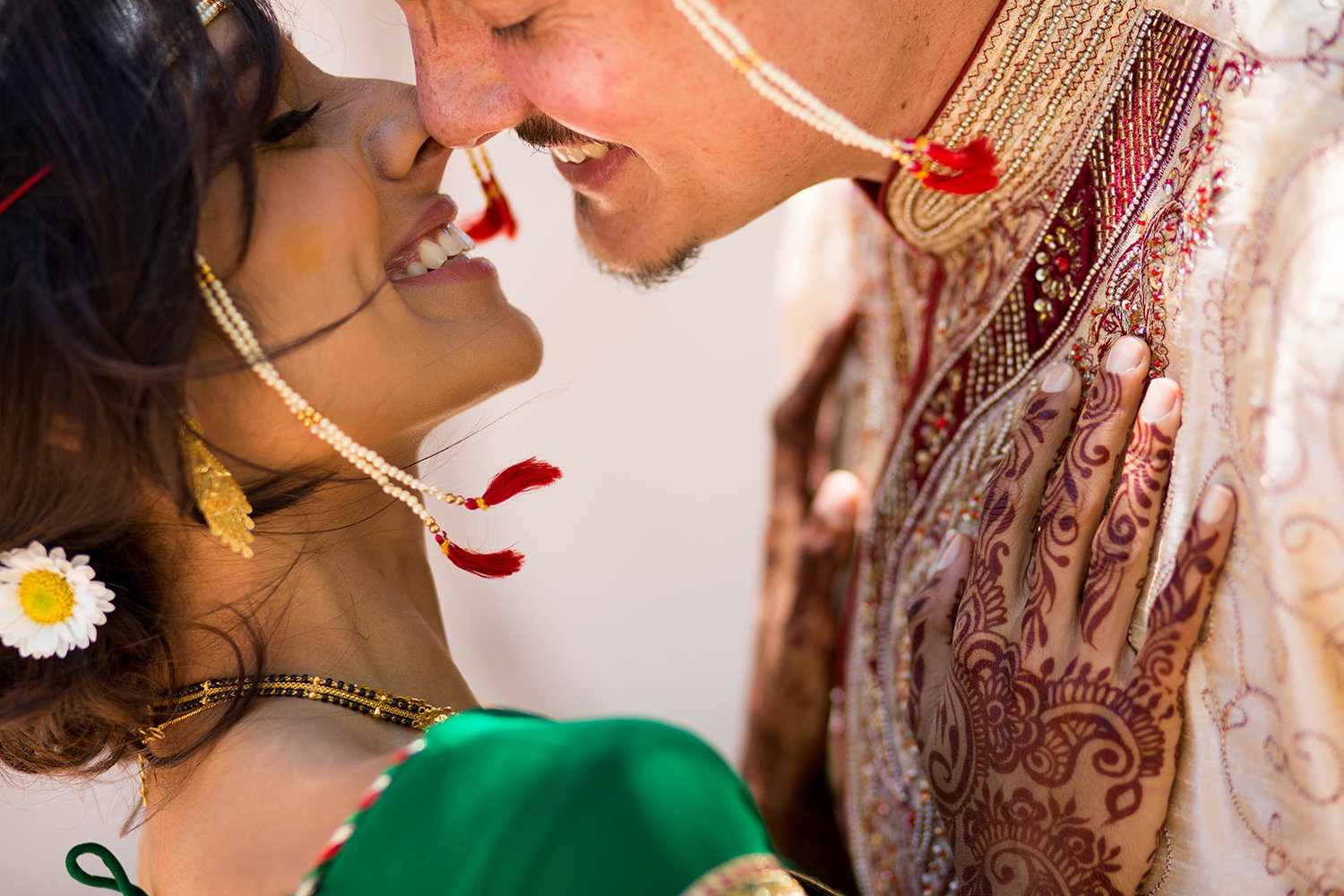 Creative close up of Hindu Bride and Groom