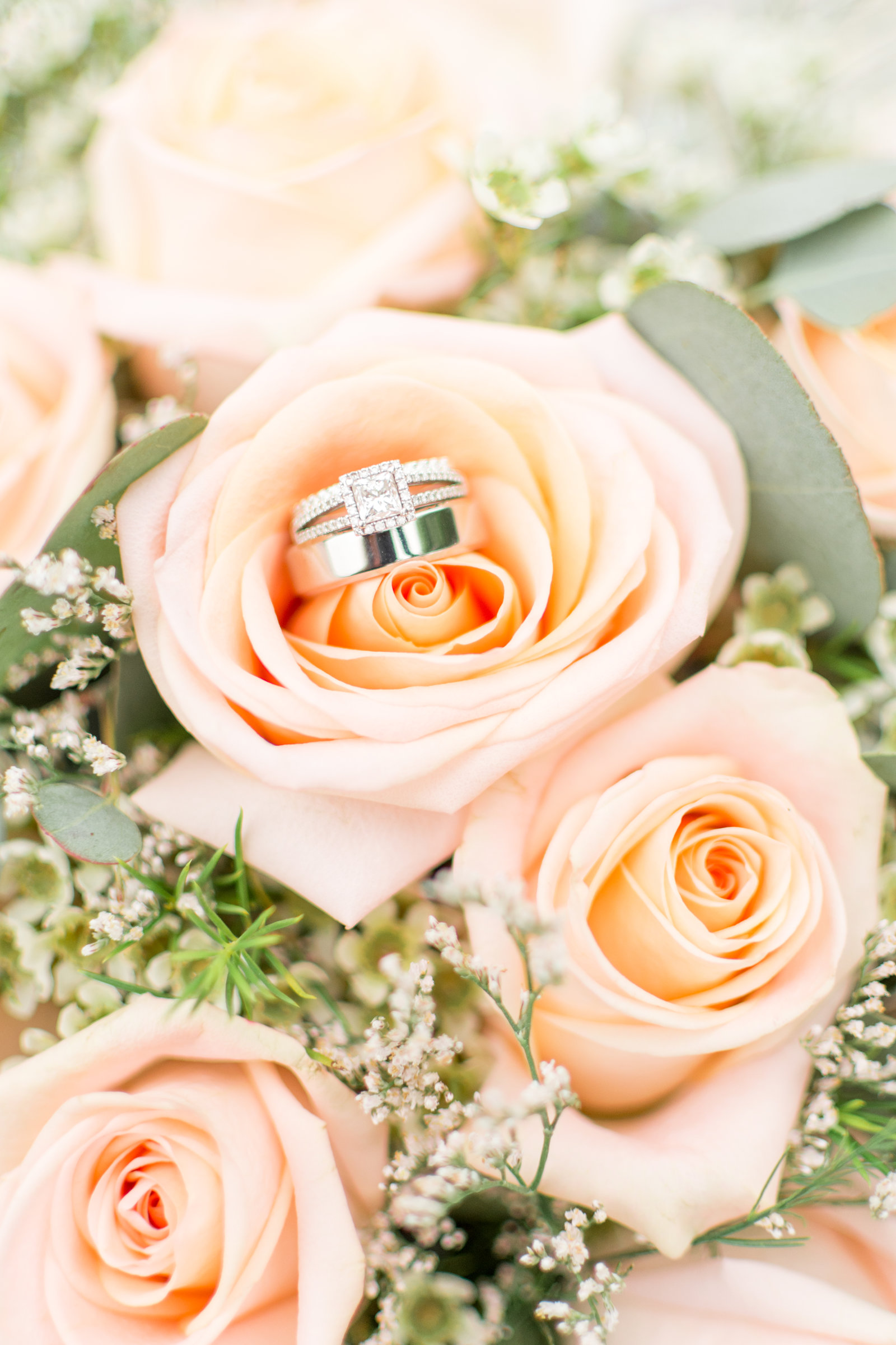 Princess Cut Ring in Peach Rose Bouquet