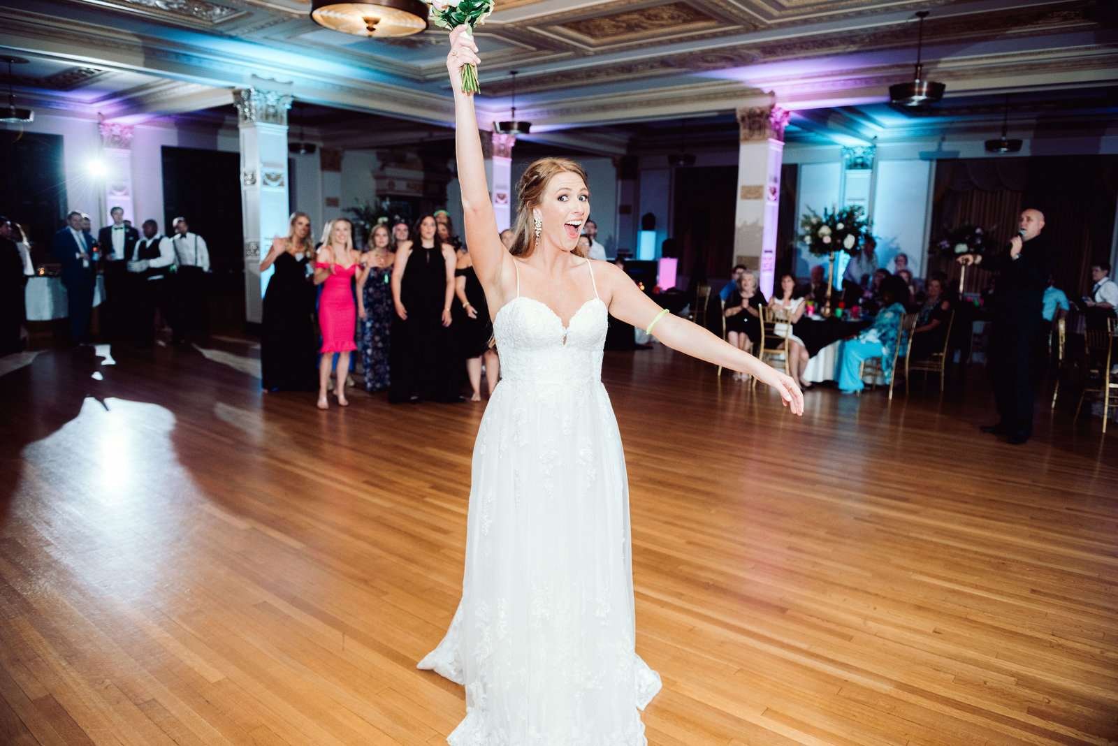 Wedding bouquet toss at Albert Pike / Sterling Imageworks