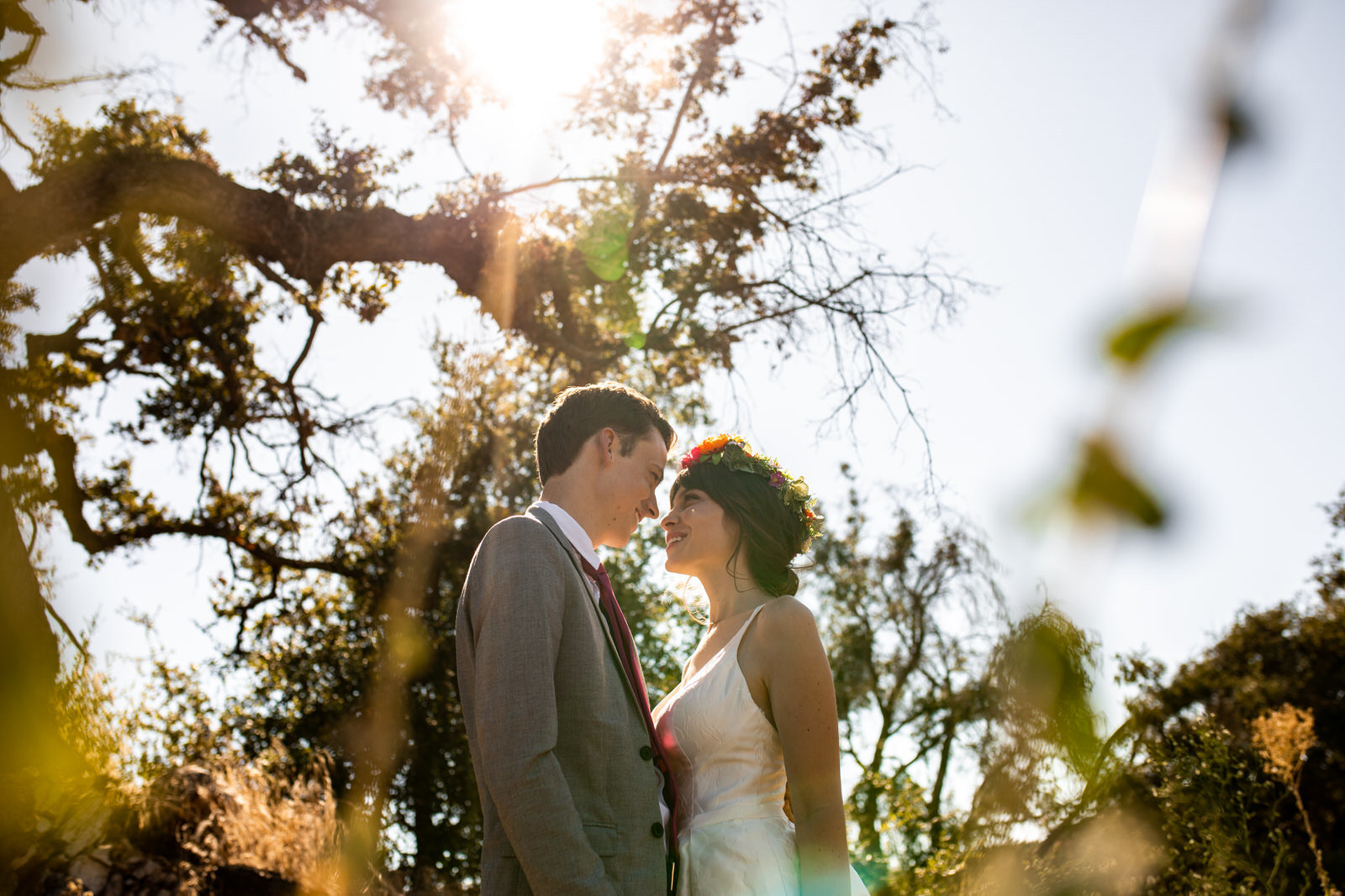 Bride and groom looking into each others eyes in front of a oak tree