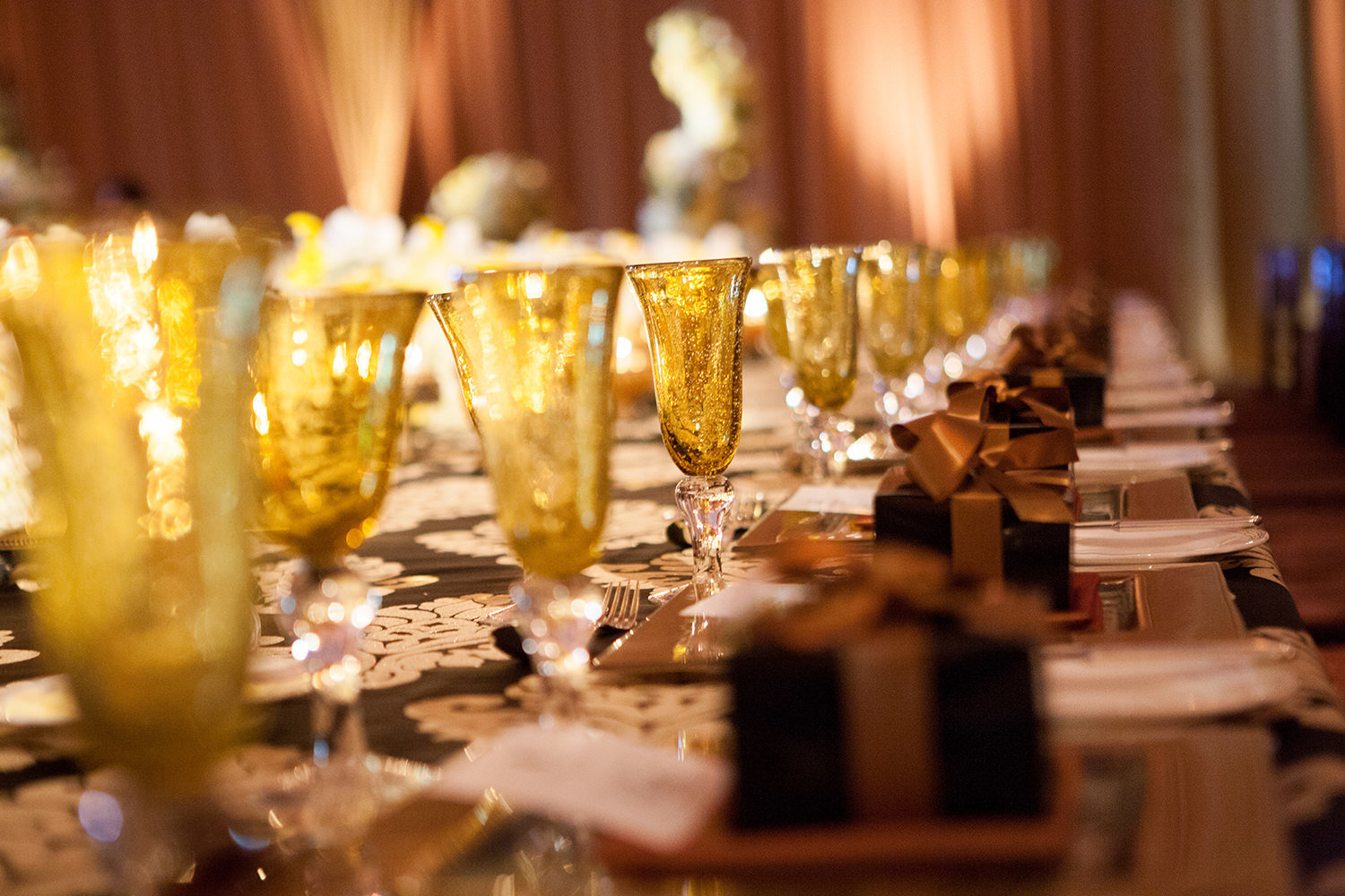 Wedding reception tables set perfectly for the nights celebration