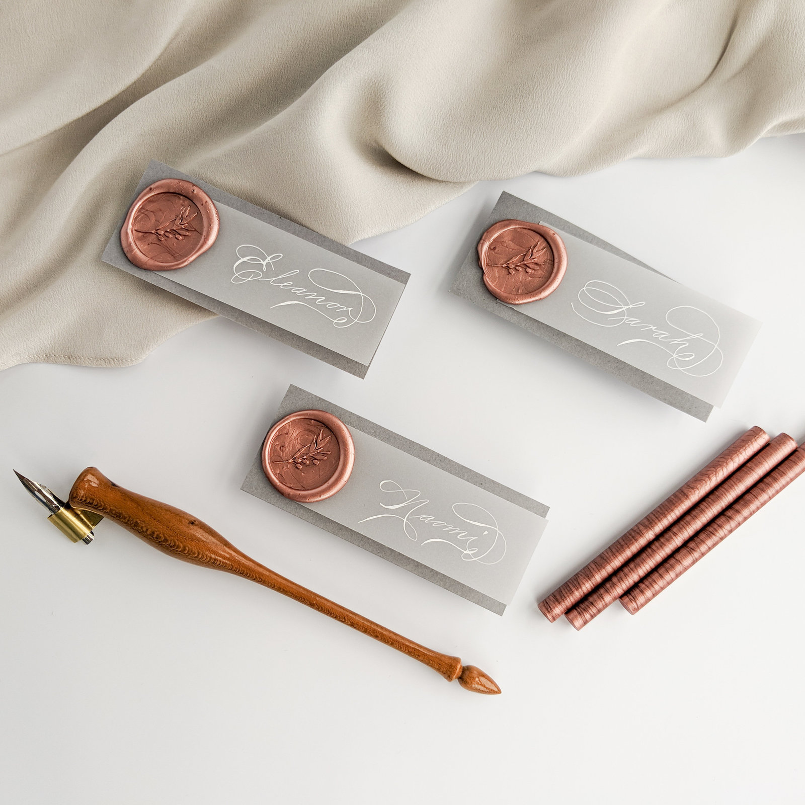 Pink wax seal place cards