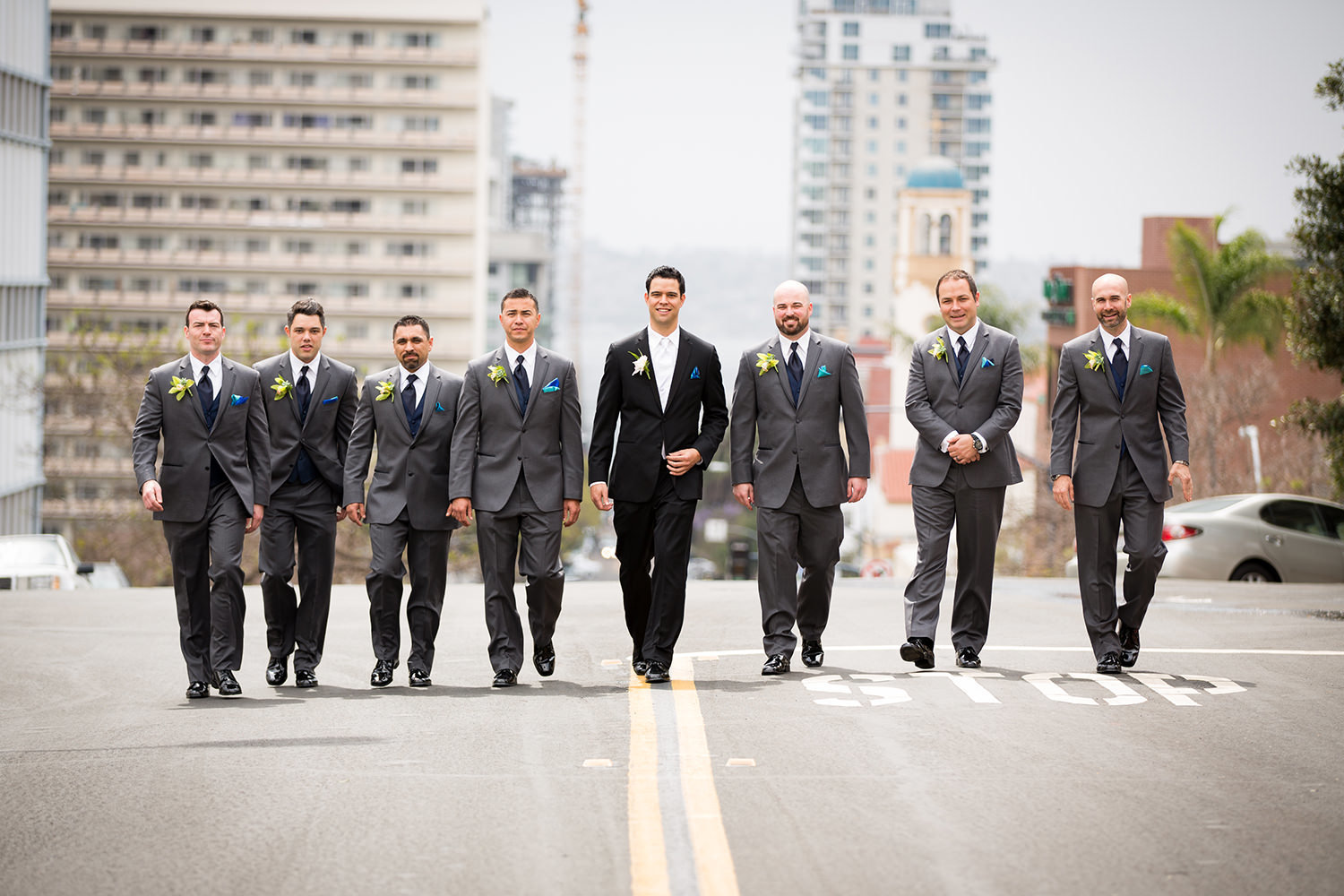 groomsmen walking in downtown san diego