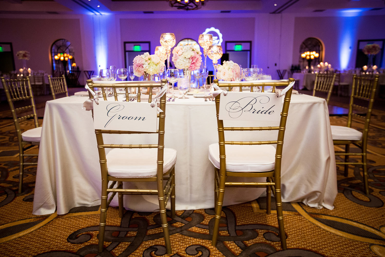 Head table during a wedding reception.