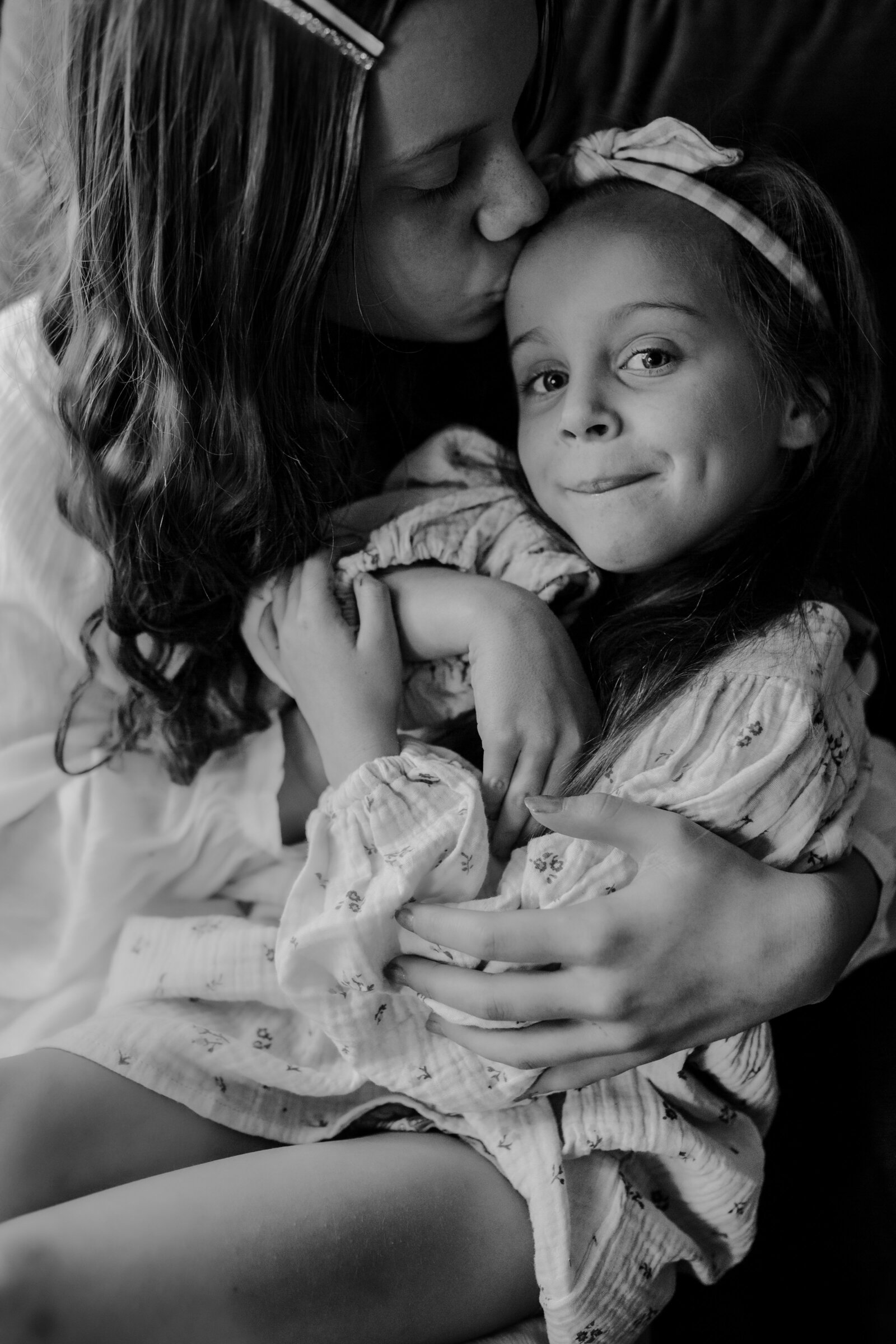 Sisters in Black and White Photo for Melbourne Family Photographer