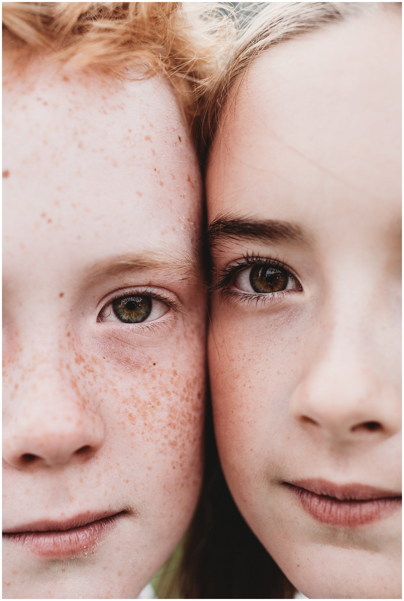 close up portrait of twins with freckles boy and girl Seattle Photographer Emily Ann Photographer
