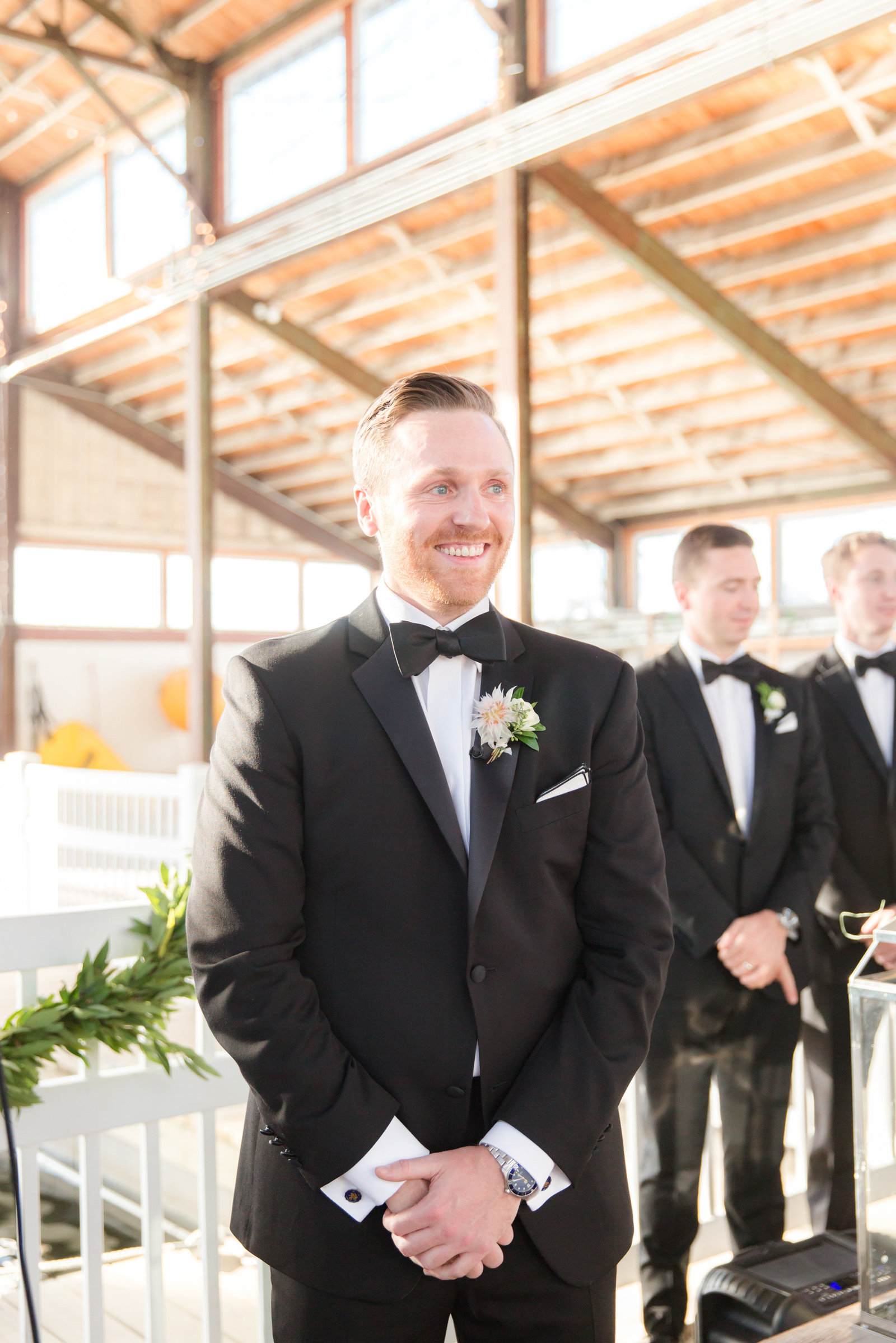 Groom's first look at Bay Head Yacht Club Wedding