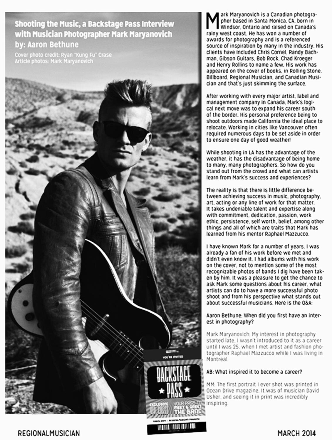Magazine Interview featuring Photographer Mark Maryanovich Publication Regional Musician Page 1 Ryan Guldemon black and white portrait holding guitar wearing sunglasses in desert magazine text around him