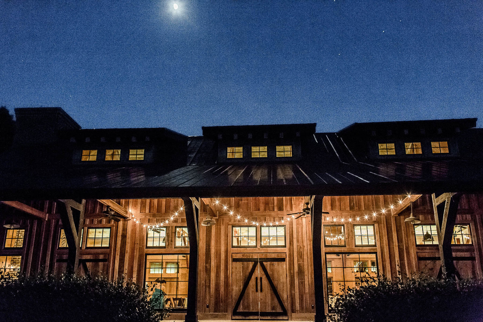 Moon light shines on barn, Pepper Plantation, Charleston Wedding Photography.