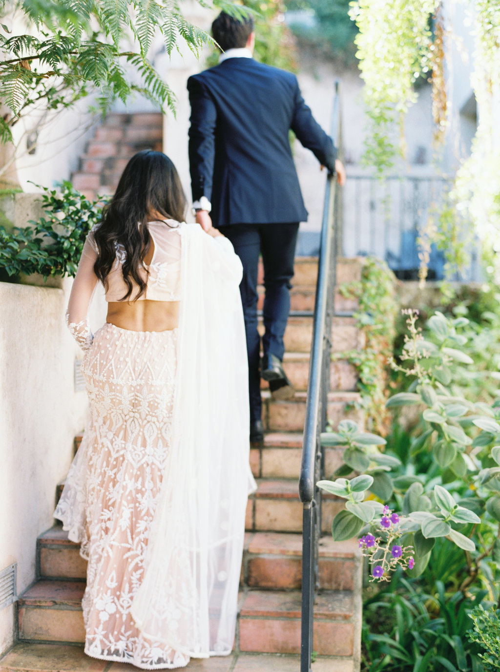 Bride and groom first look photo at Butterfly Lane Estate in Montecito