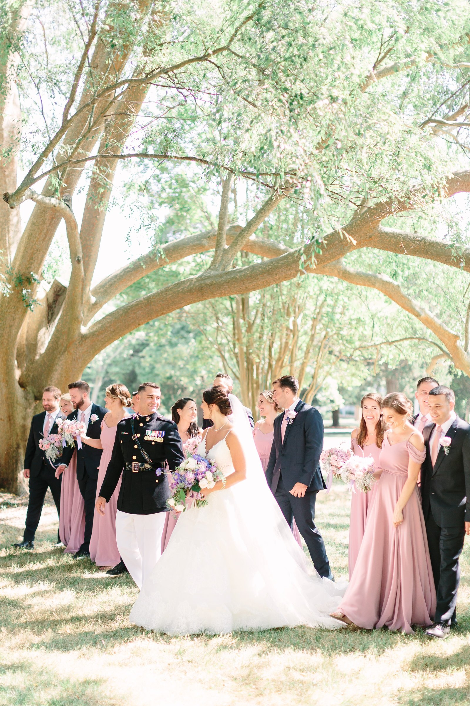 neufield bridal party under the trees