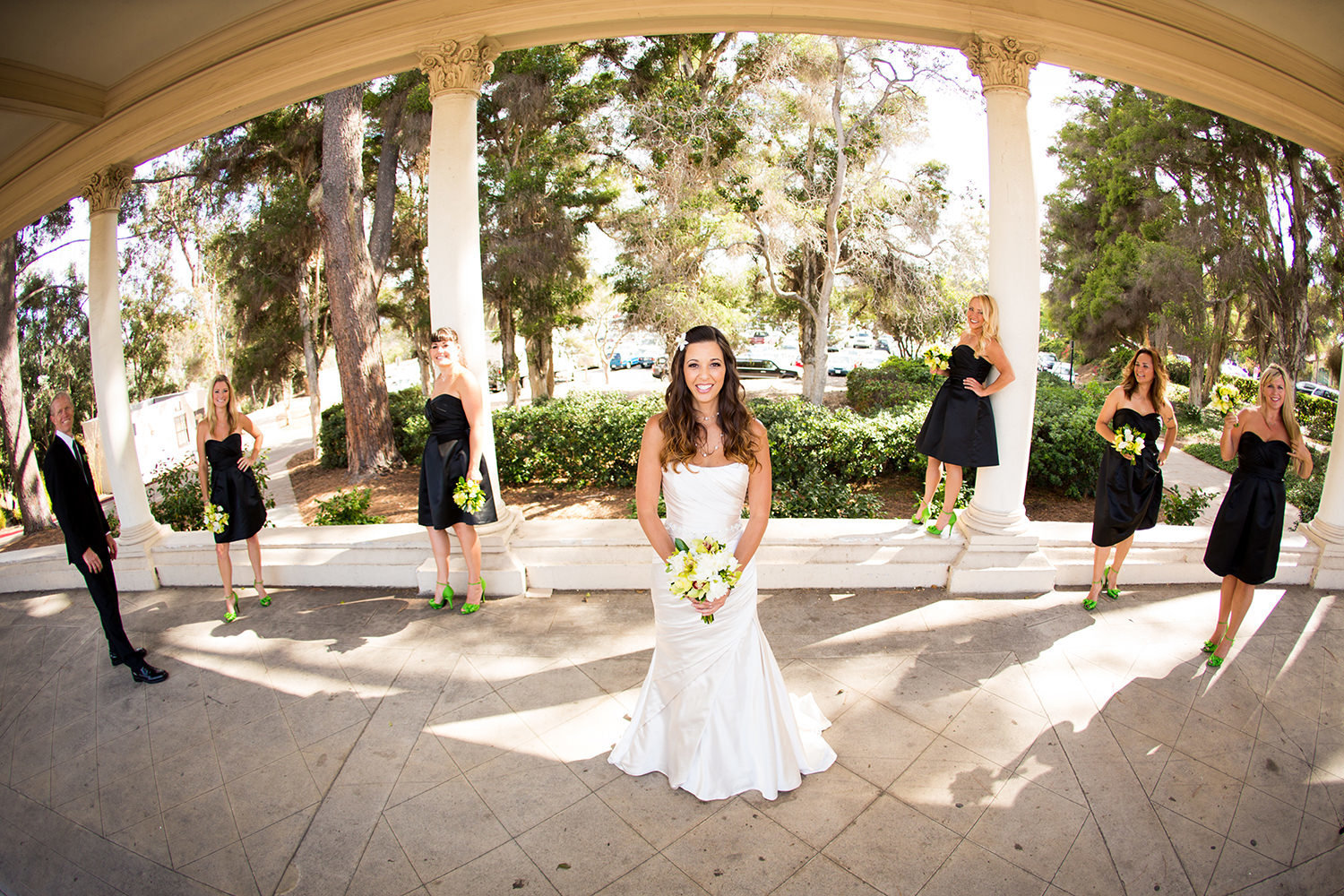 bridal party formal with black dresses