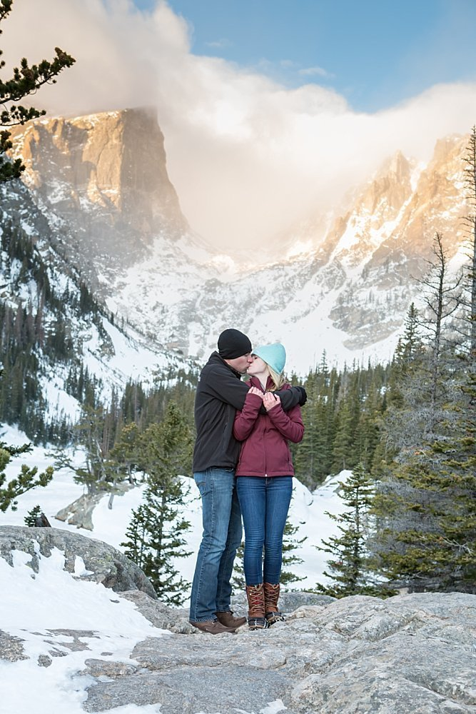 Dream lake winter engagement photos Rocky Mountain National Park