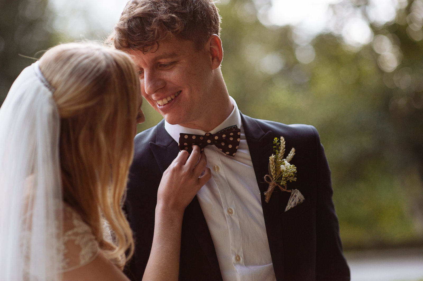 Groom with bow tie. East Riddlesden Hall wedding photographer