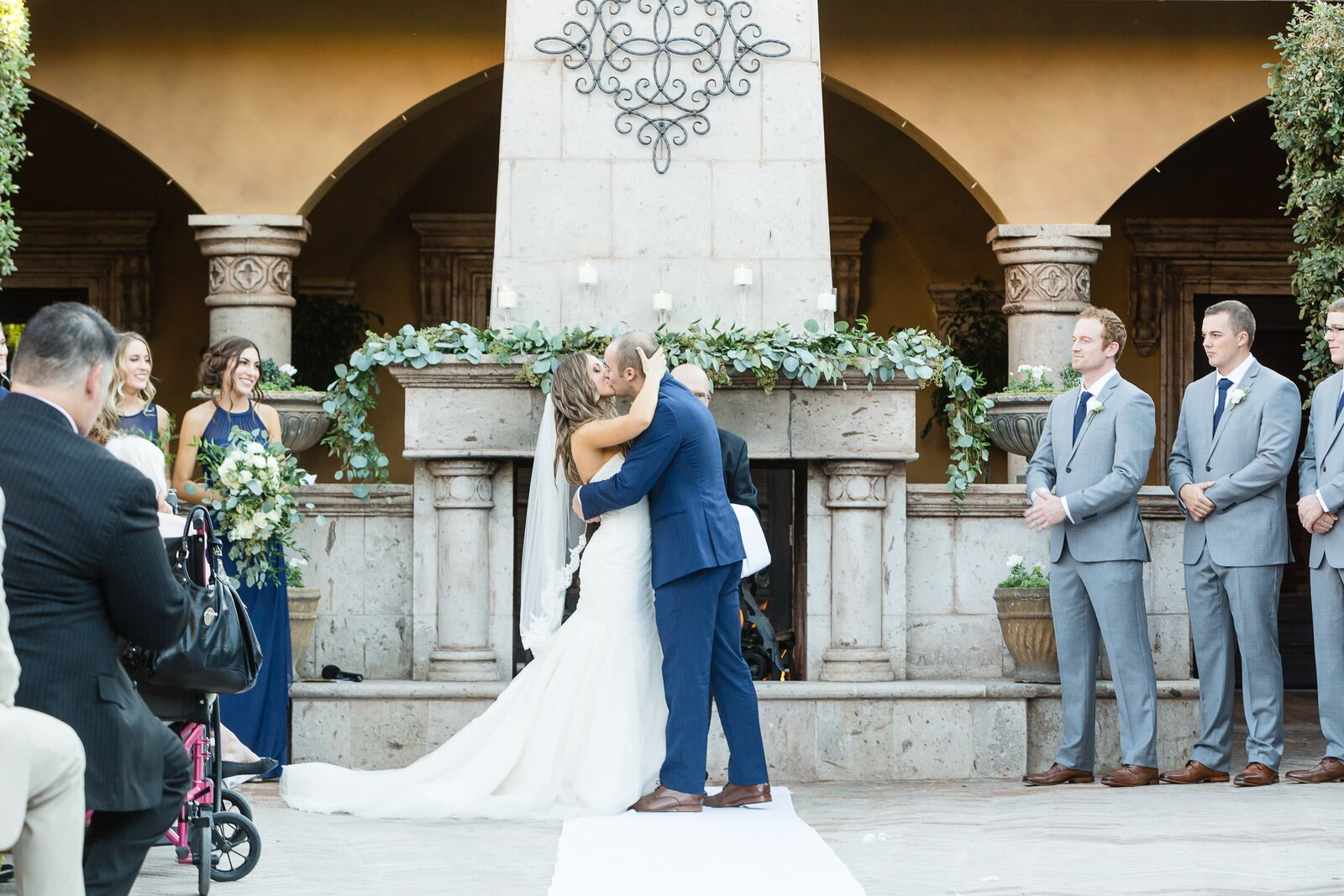 first-kiss-bride-and-groom