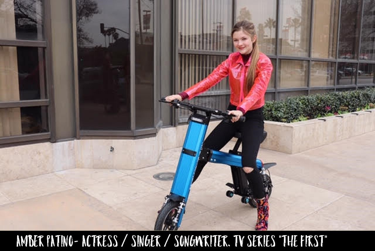 Actress Singer & Songwriter Amber Patino is cruising the streets of LA on a Blue Go-Bike M2