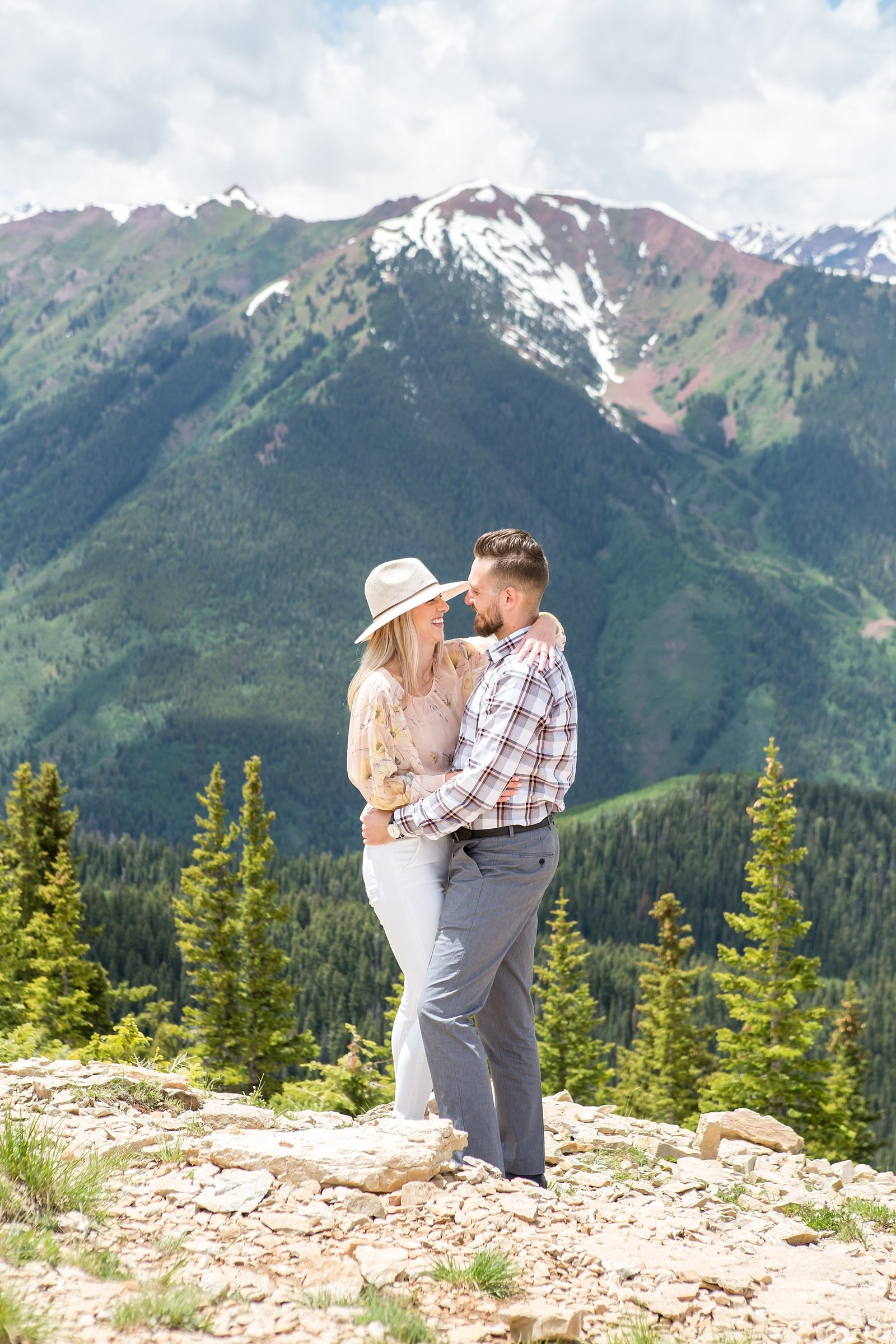 Engagement photos on top of Aspen mountain