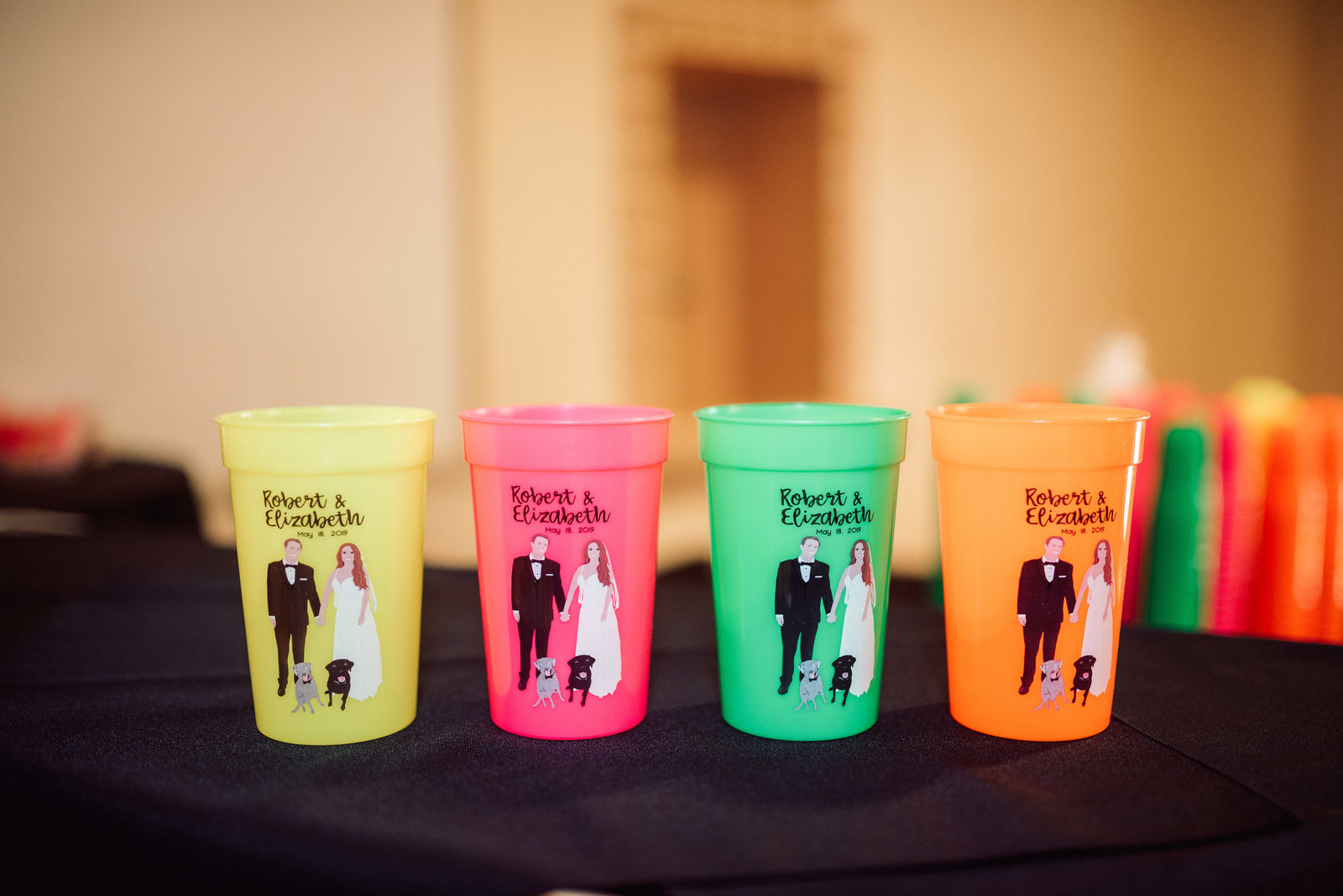 Custom Little Rock wedding cups with bride and groom and puppy dogs / Sterling Imageworks